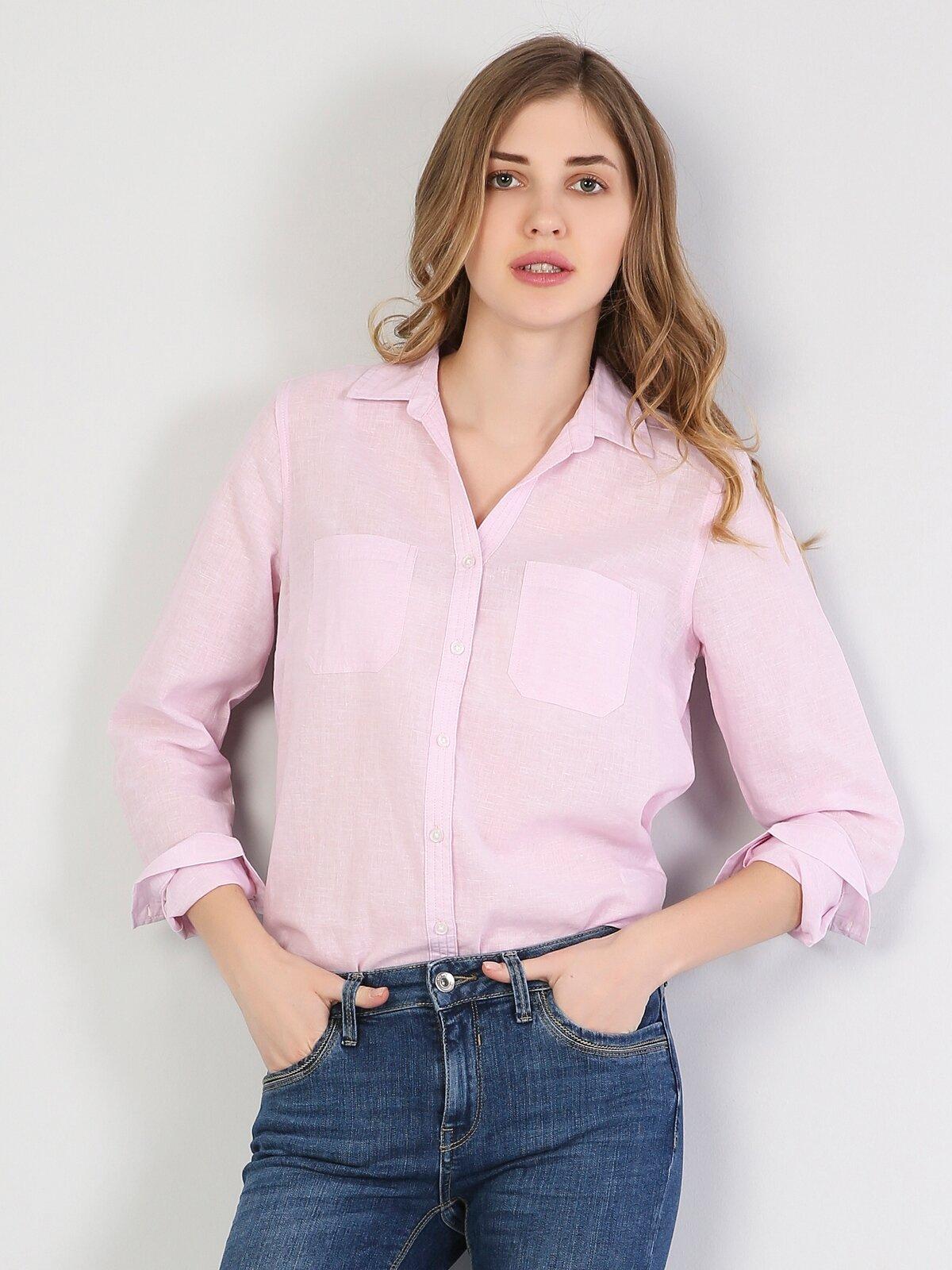 Regular Fit Shirt Neck Kadın Pembe Uzun Kol Gömlek