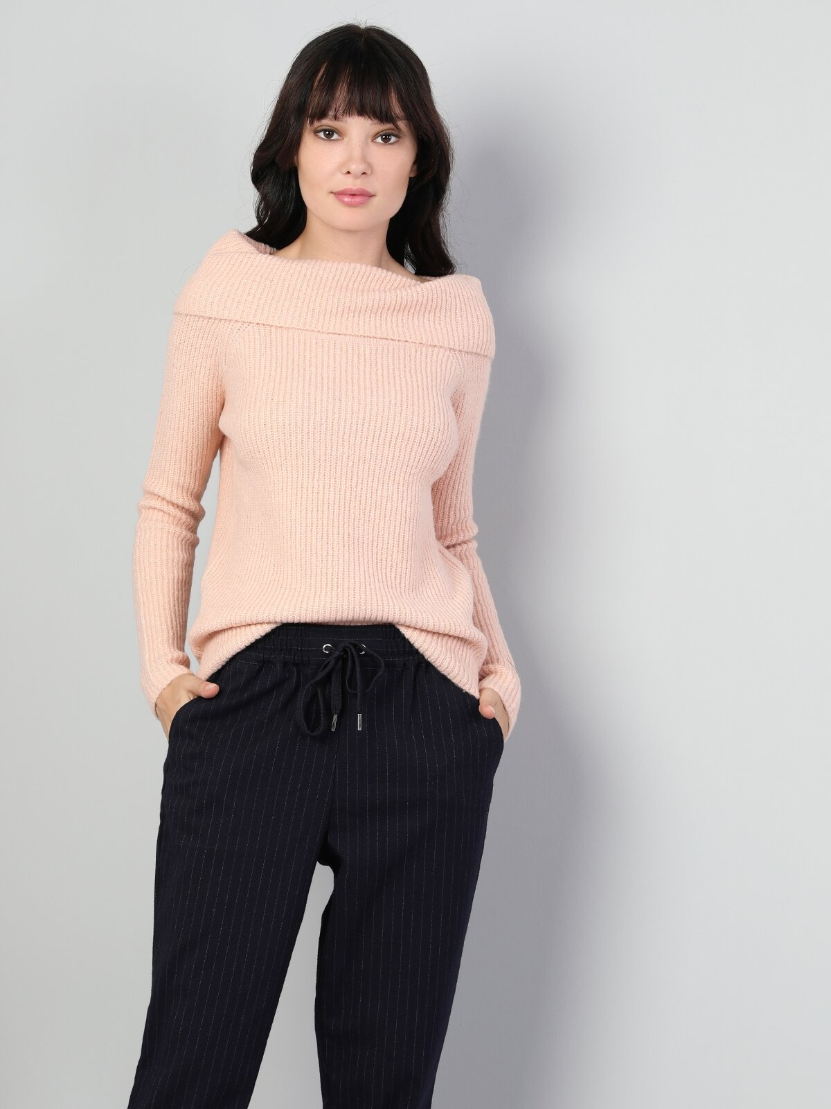 Slim Fit Sal Yaka Kadın Pembe Kazak
