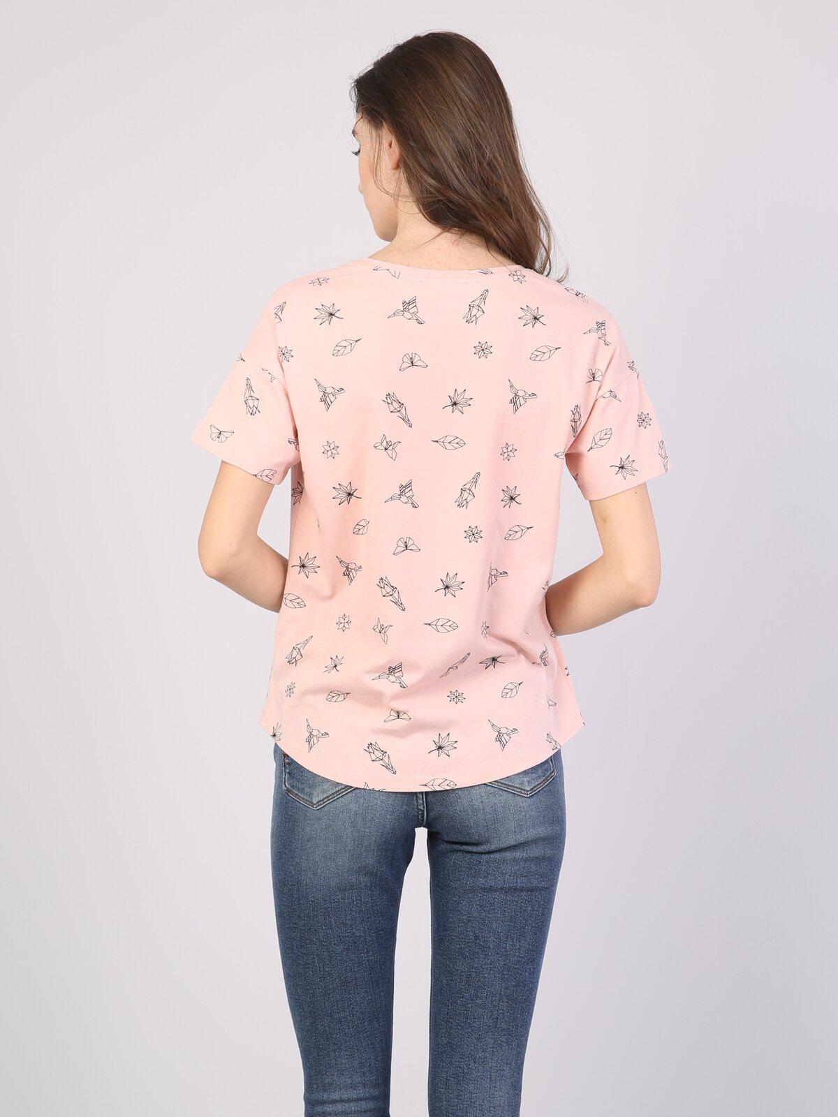 Pembe Yuvarlak Yaka Kısa Kol Tişört