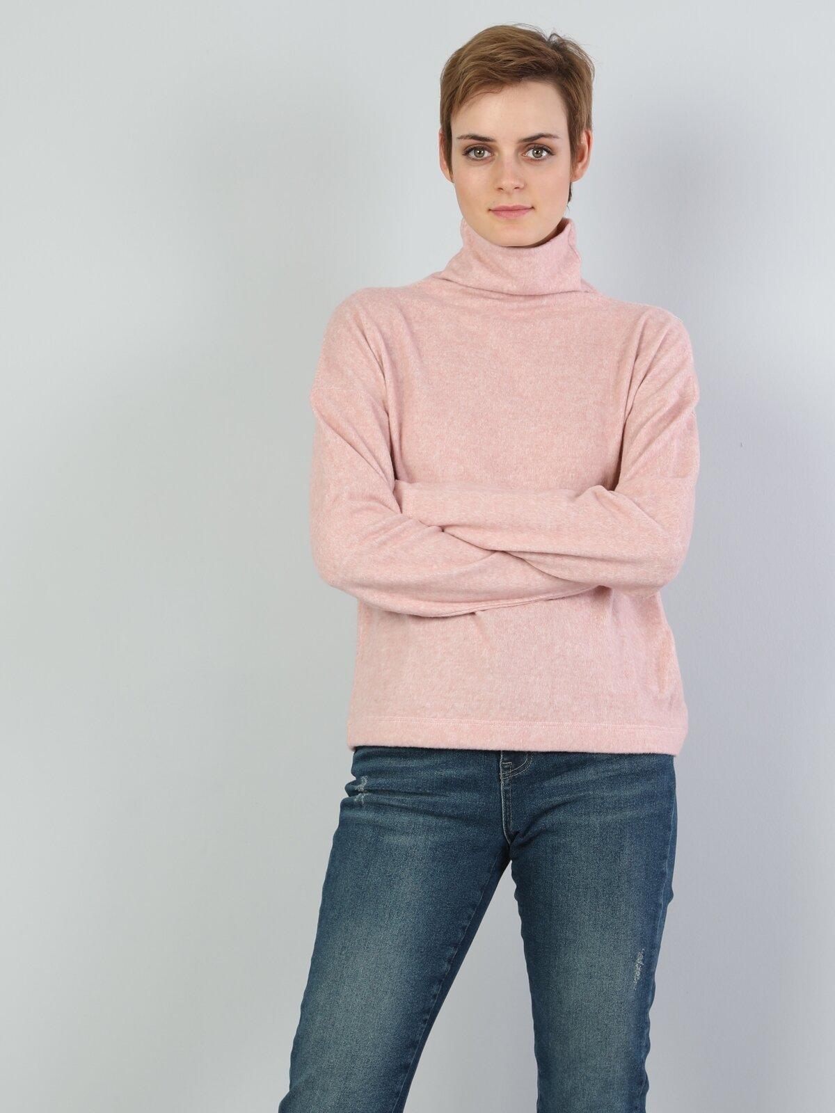 Normal Kesim Balıkçı Yaka Pembe Kadın Uzun Kol Tişört