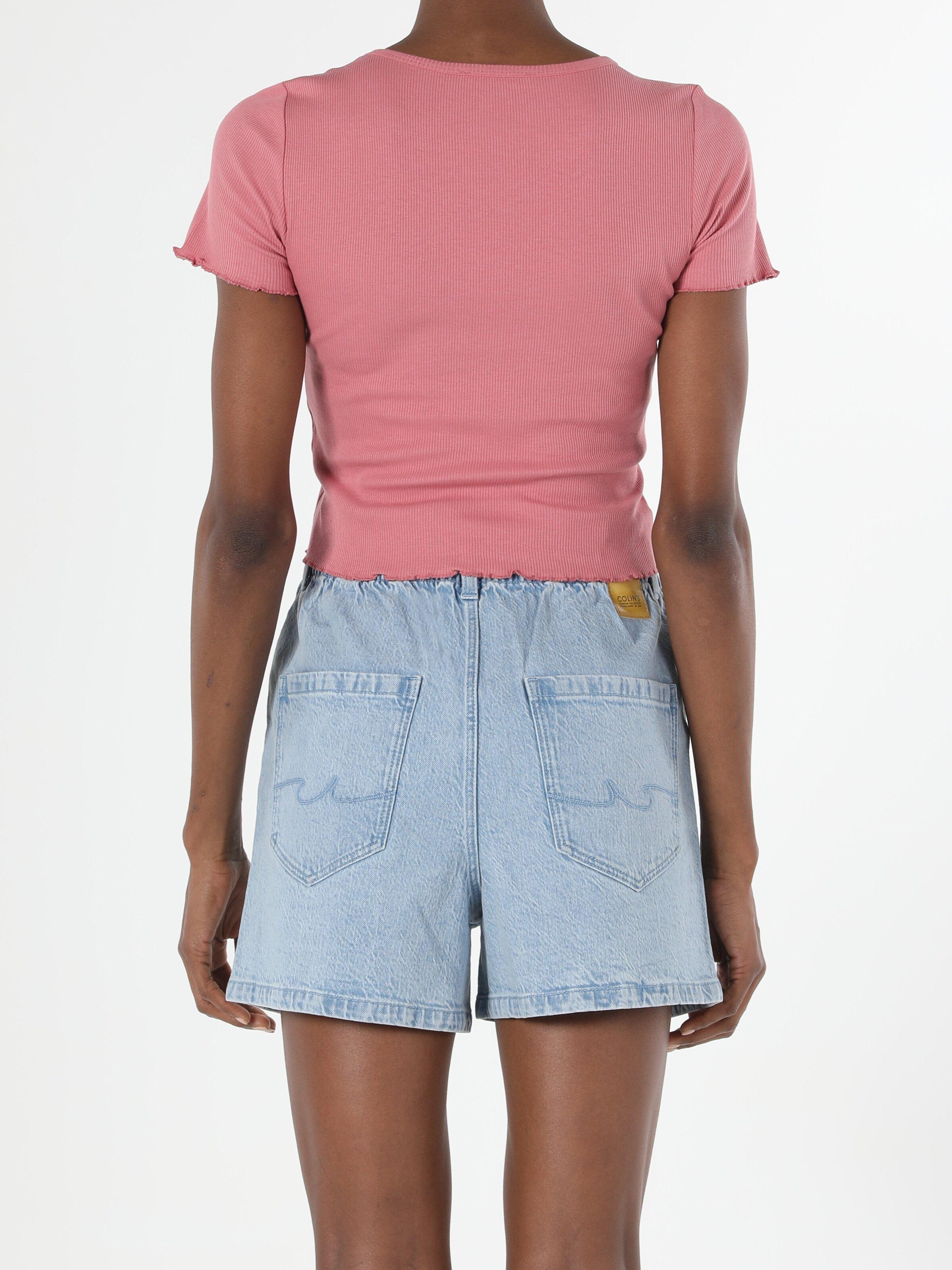 Slim Fit Bisiklet Yaka Örme Kadın Pembe Kısa Kol Tişört