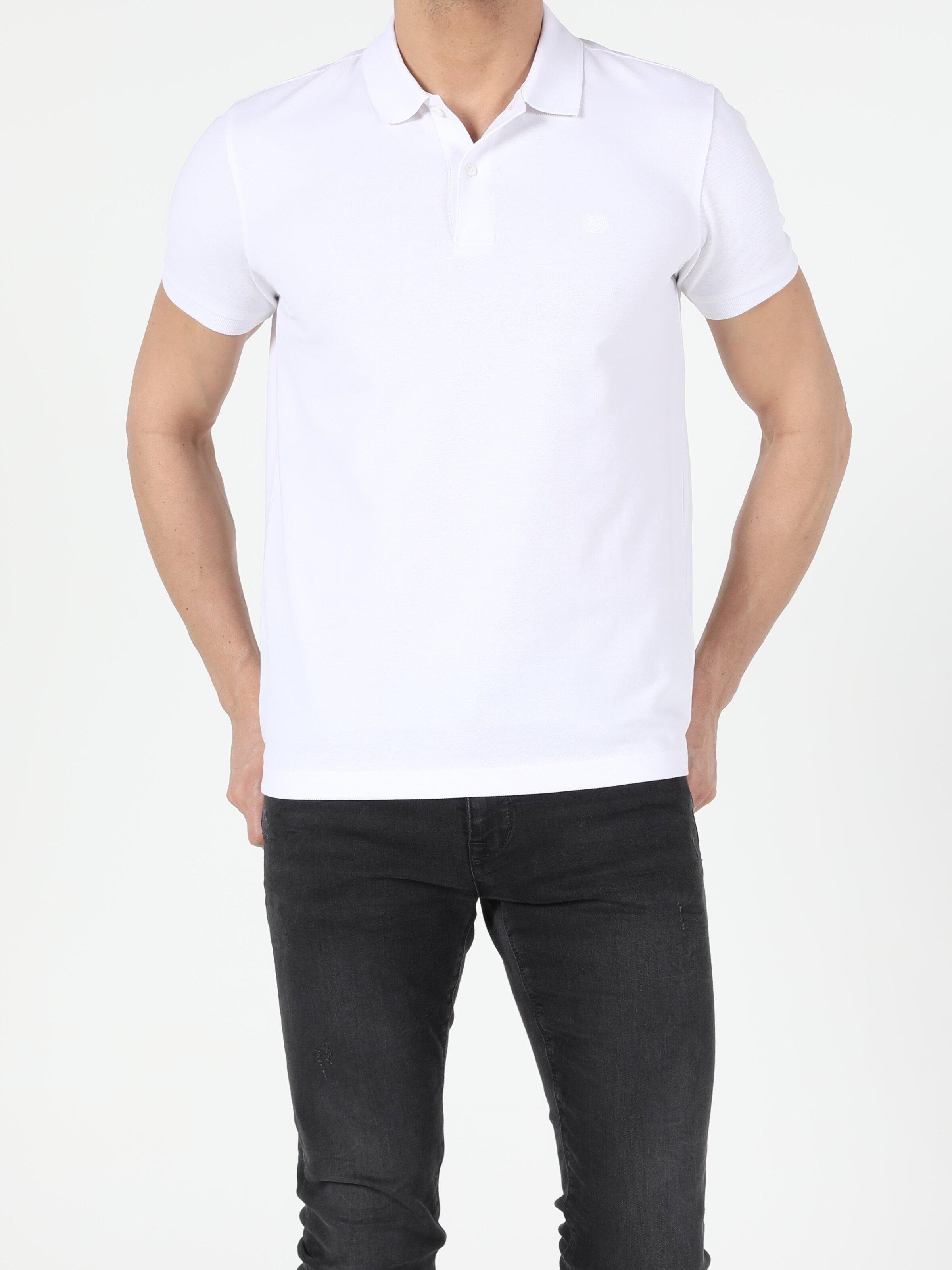Regular Fit Polo Yaka Erkek Beyaz Polo Kısa Kol