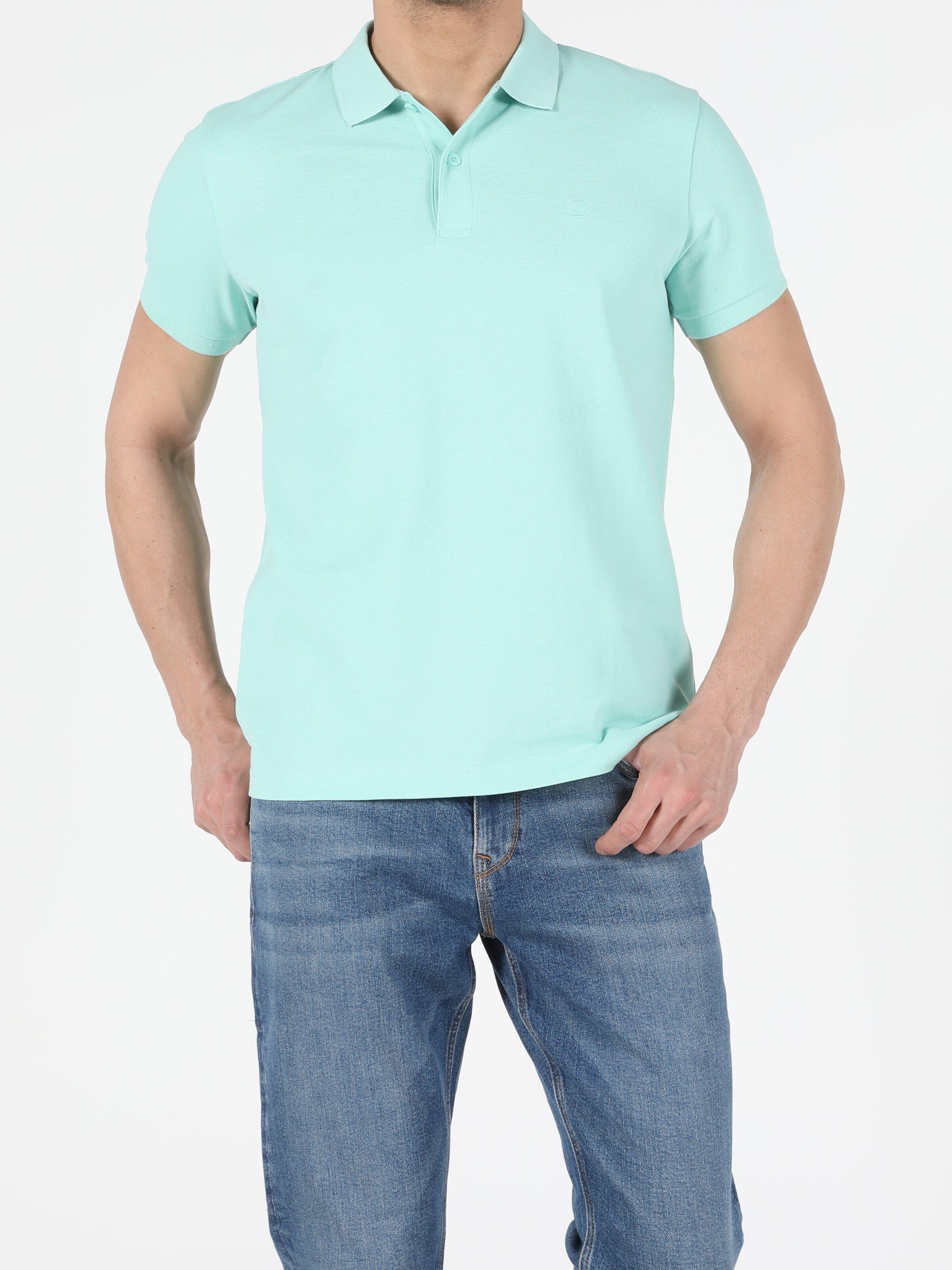 Regular Fit Polo Yaka Erkek Mint Yeşili Polo Kısa Kol