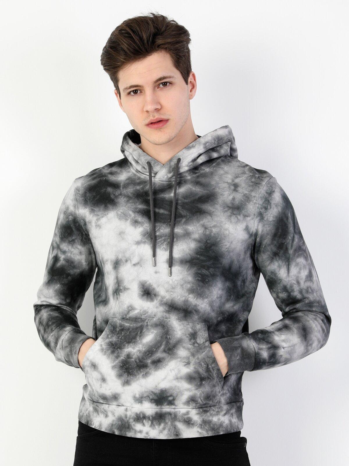 Regular Fit Erkek Desenli Beyaz Sweatshirt