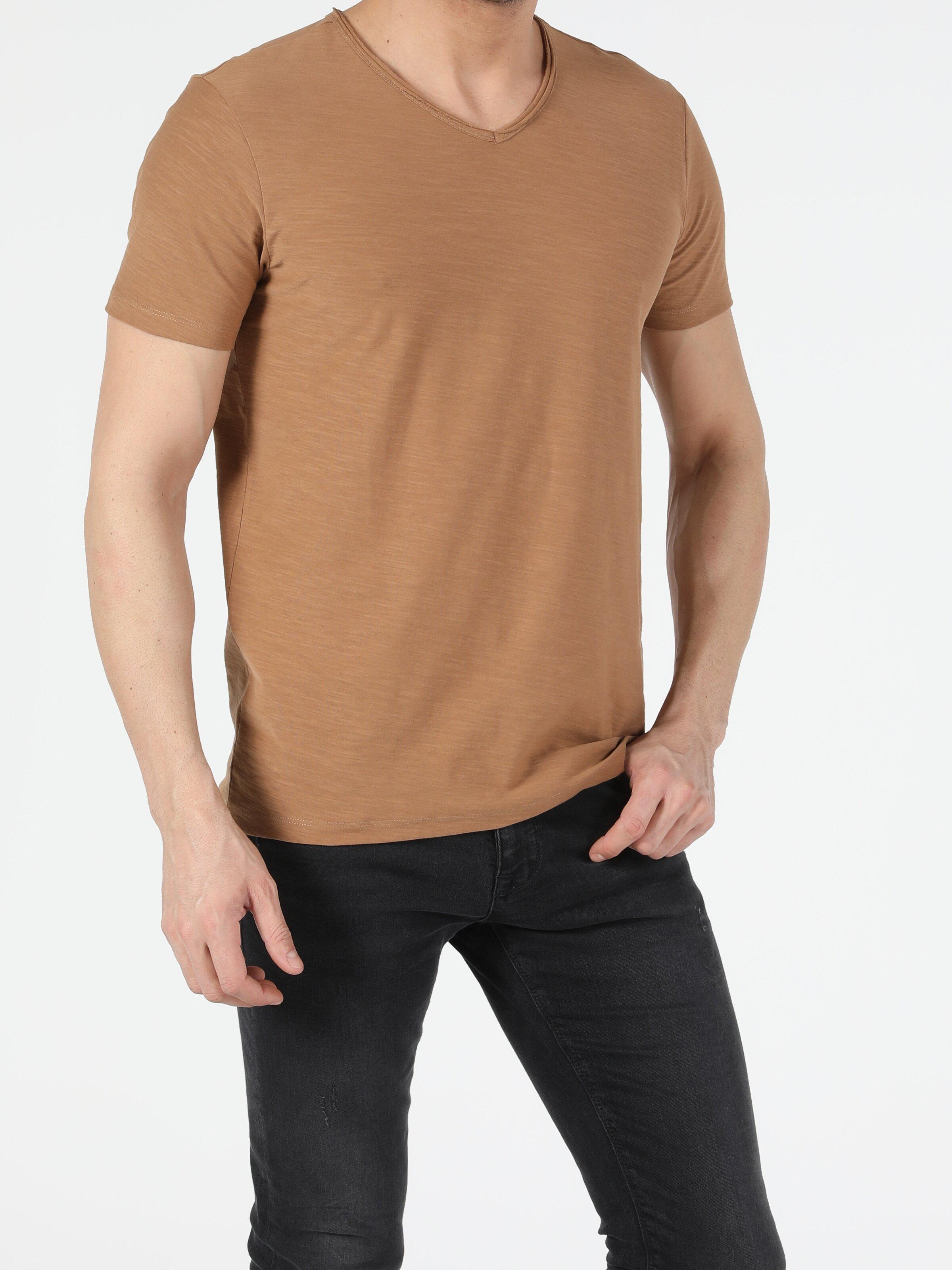 Regular Fit V Yaka Örme Erkek  Kısa Kol Tişört