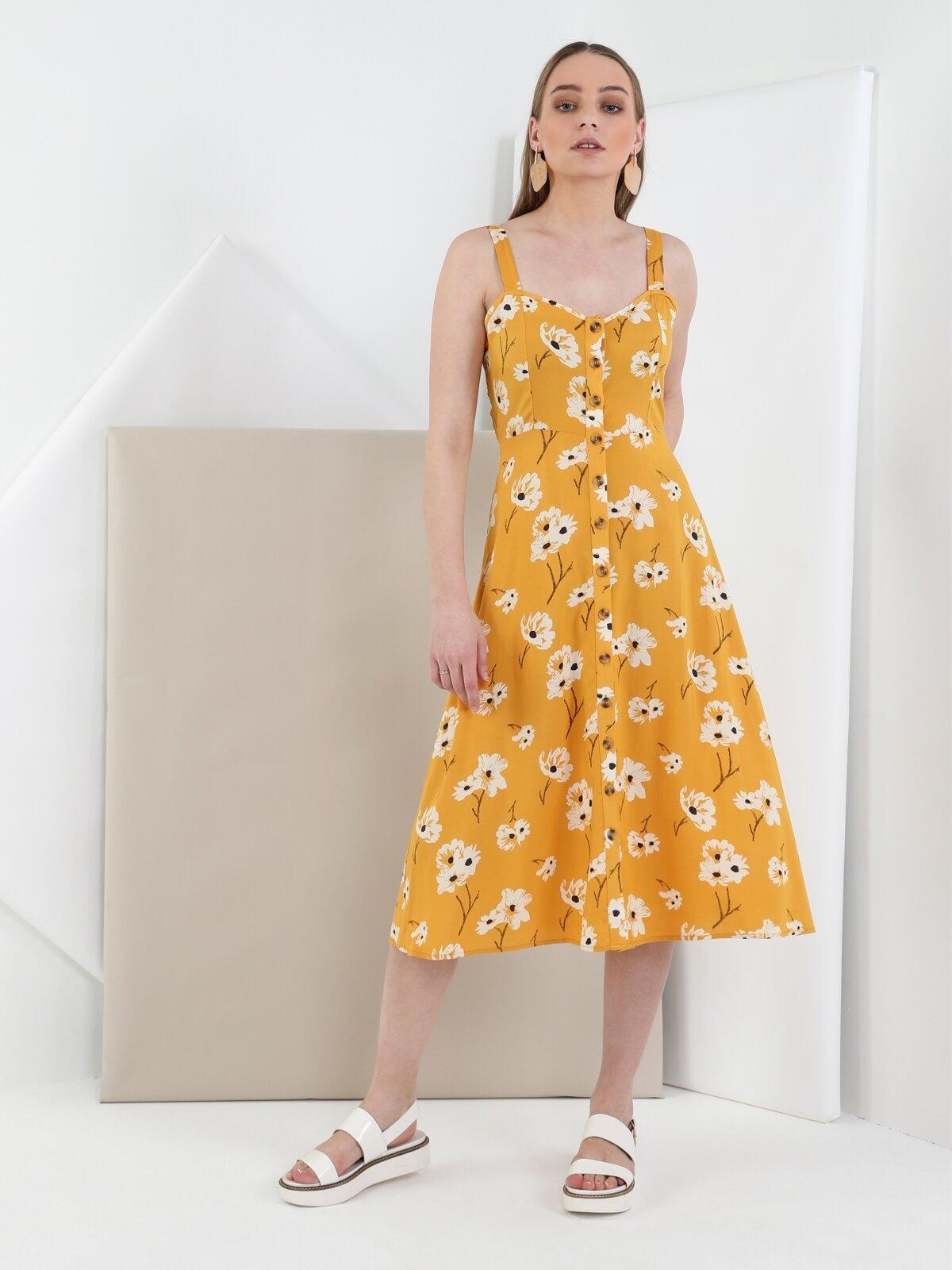 Slim Fit  Kadın Sarı Elbise