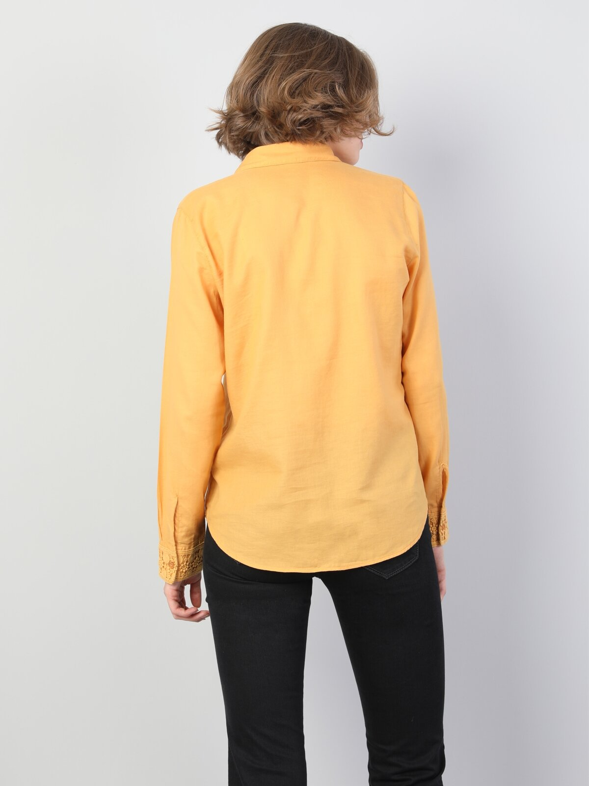 Slim Fit Shirt Neck Kadın Safran Uzun Kol Gömlek