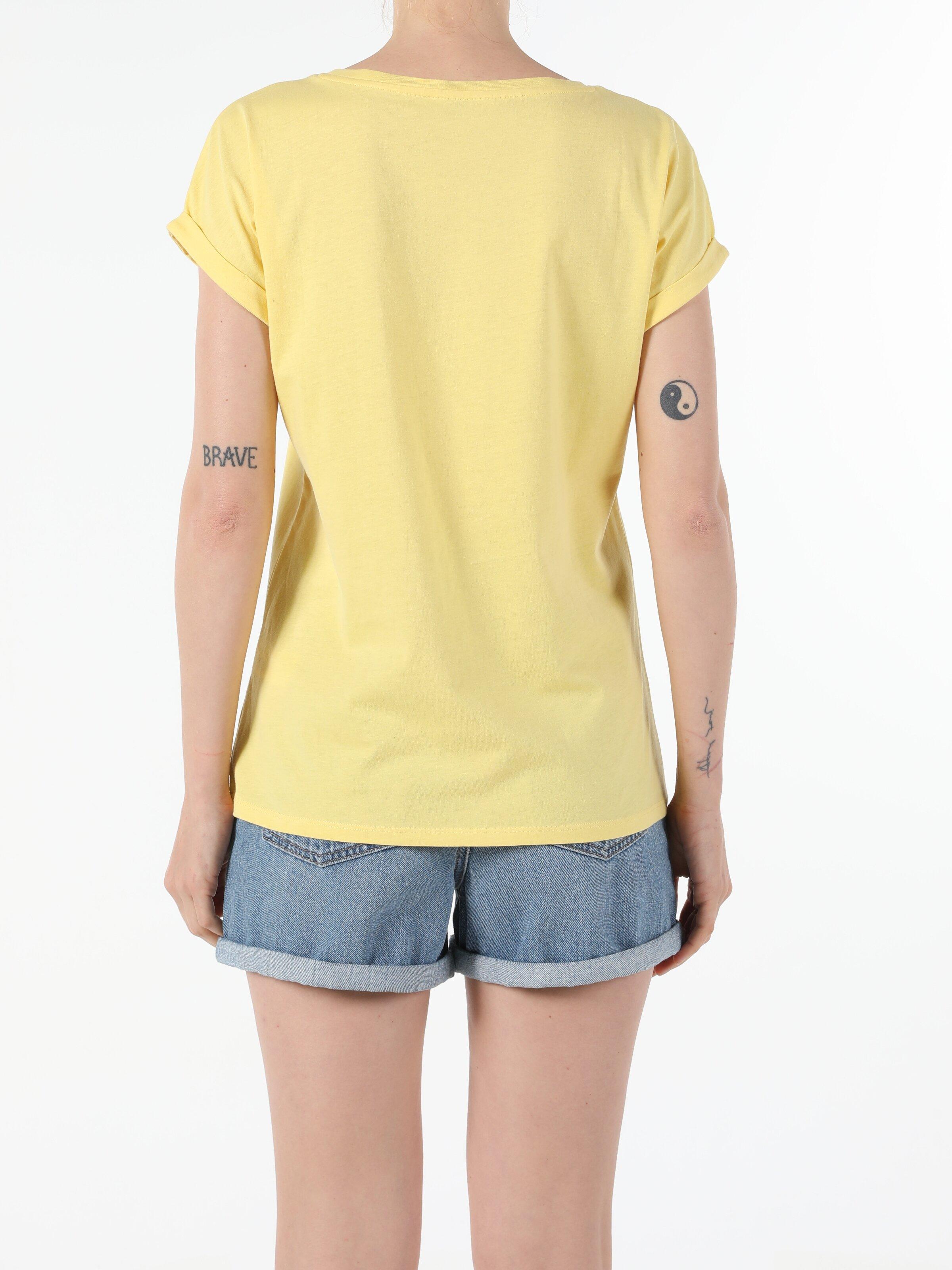 Regular Fit Bisiklet Yaka Örme Kadın Sarı Yarasa Tişört
