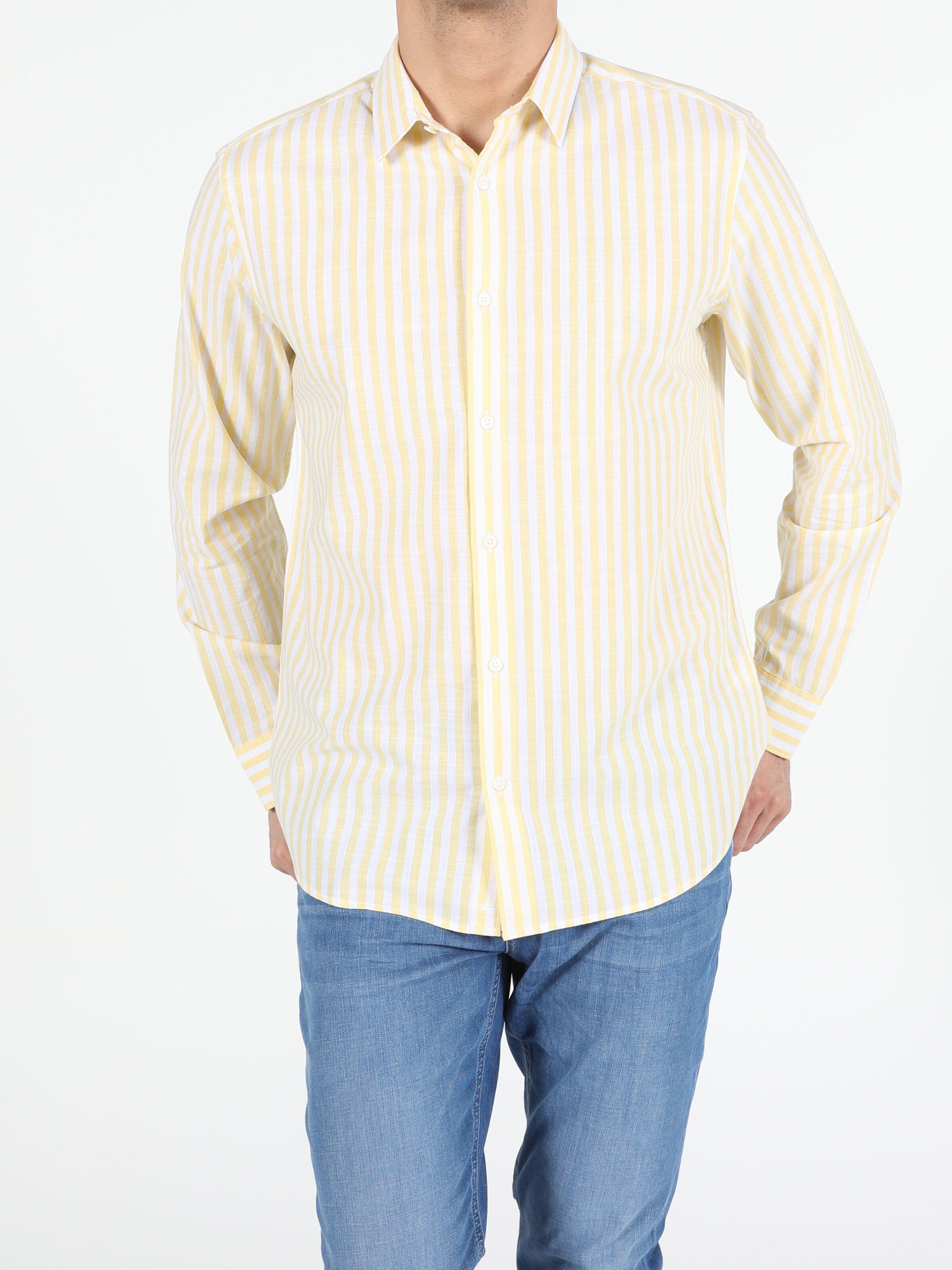 Sarı Regular Fit Shirt Neck Sarı Erkek Uzun Kol Gömlek