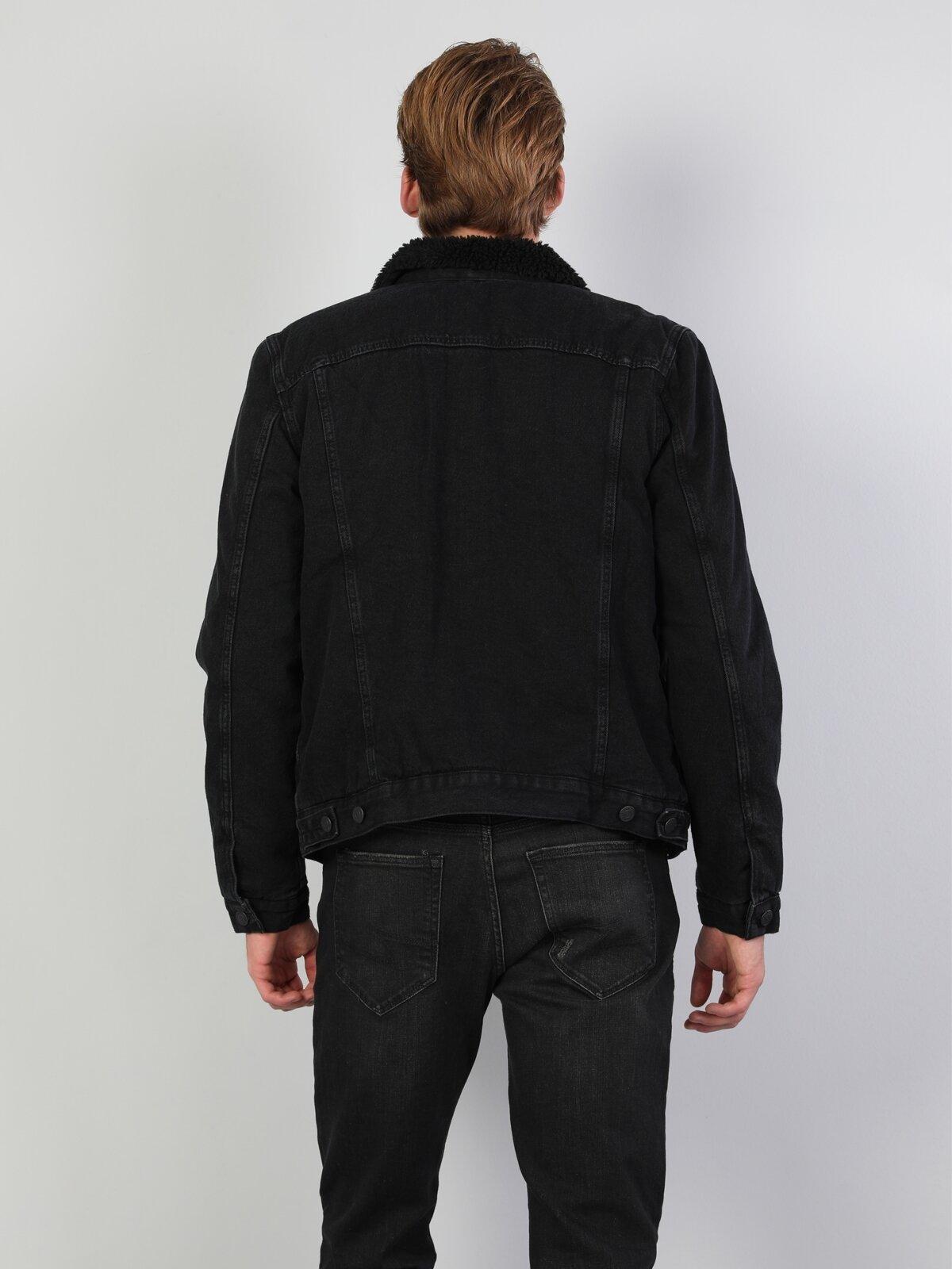 020 Mice Normal Kesim Kürk Yakalı Siyah Erkek Denim Ceket