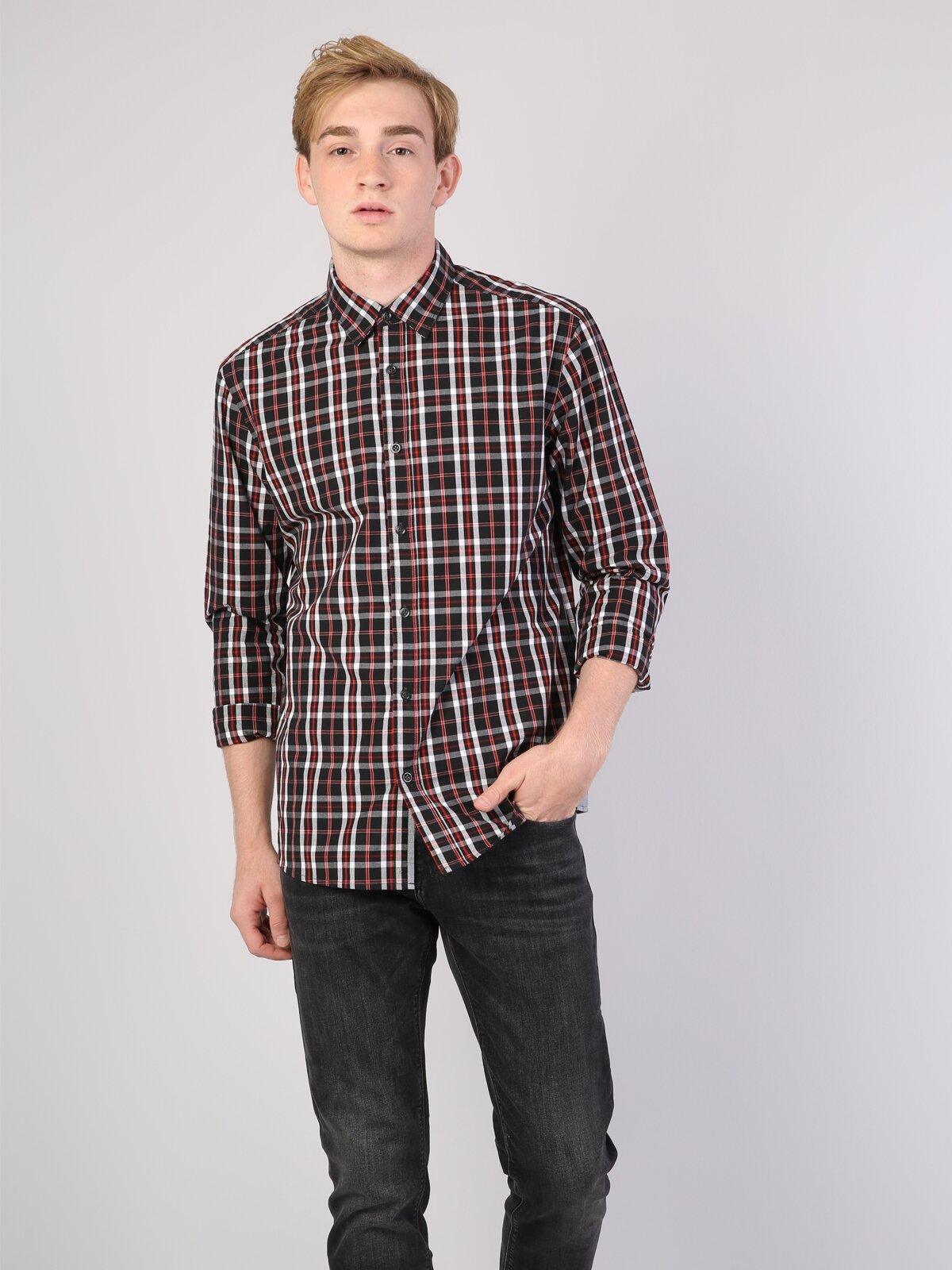 Regular Fit Shirt Neck Erkek Siyah Uzun Kol Gömlek