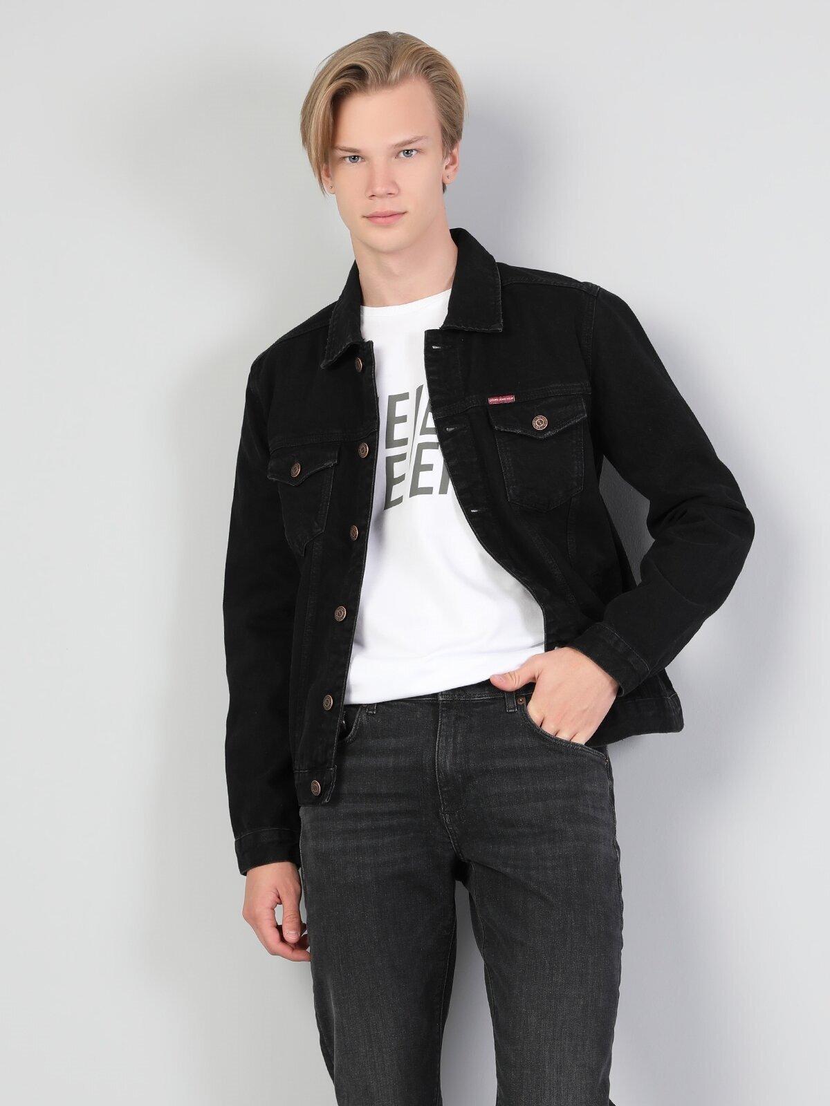 Siyah Erkek Jean Ceket