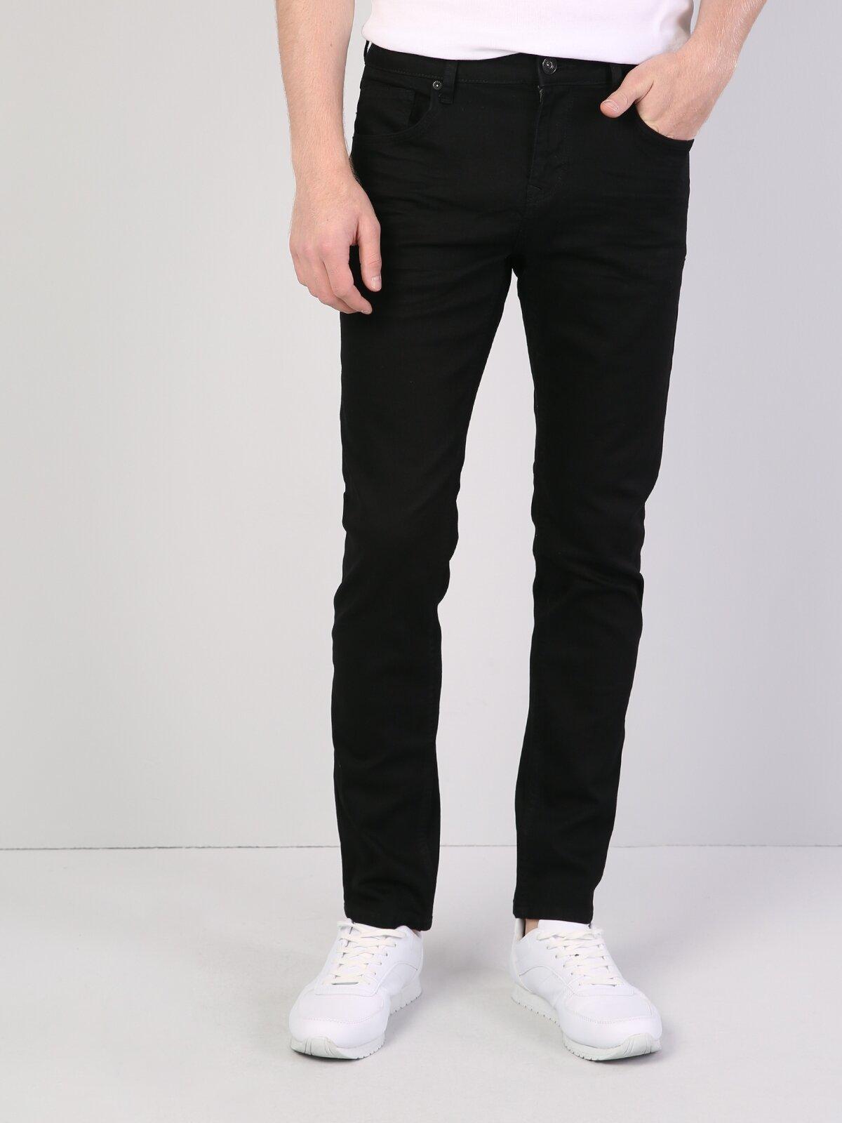 044 Karl Straight Fit Düşük Bel Düz Paça  Erkek Siyah Jean Pantolon