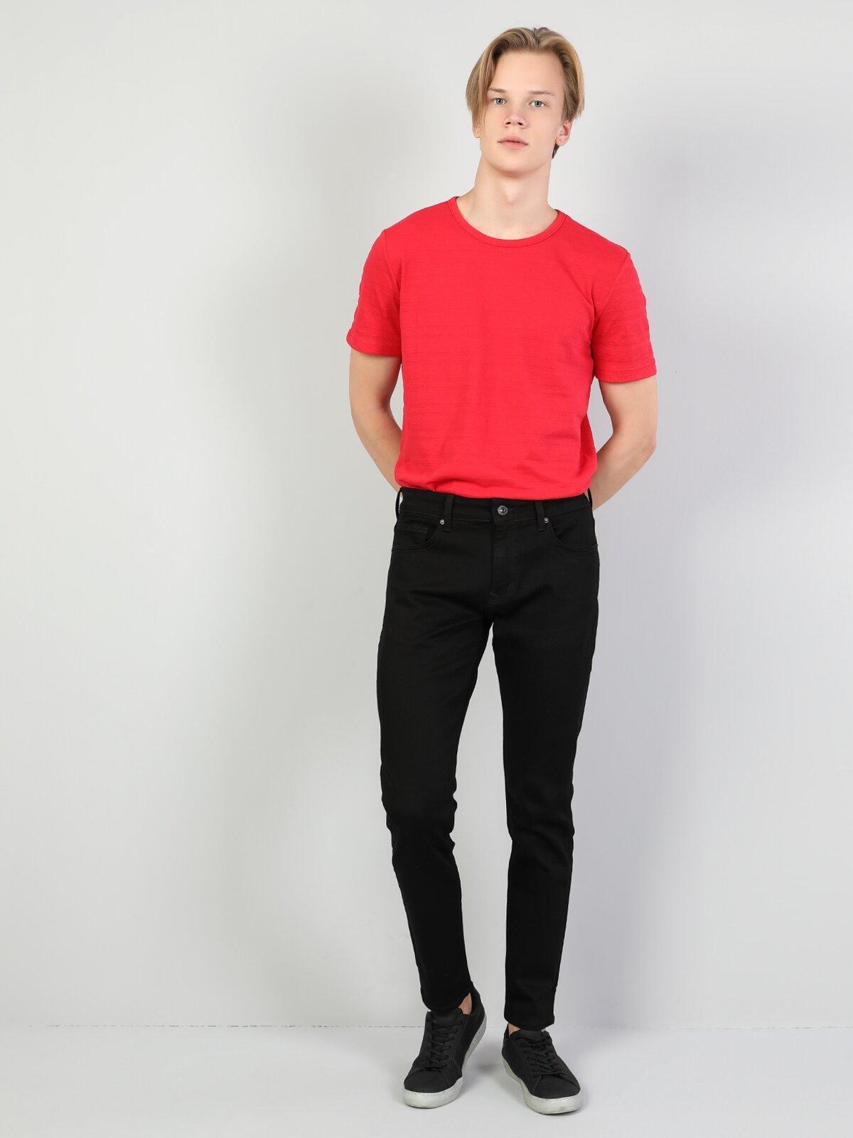041 Danny Slim Fit Dar Paça Siyah Jean Pantolon