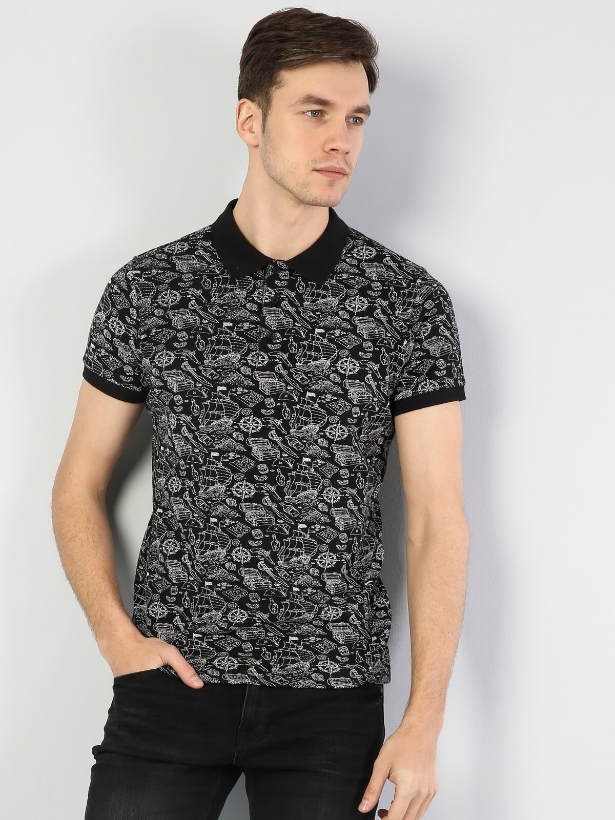 Slim Fit Polo Yaka Siyah  Tişört