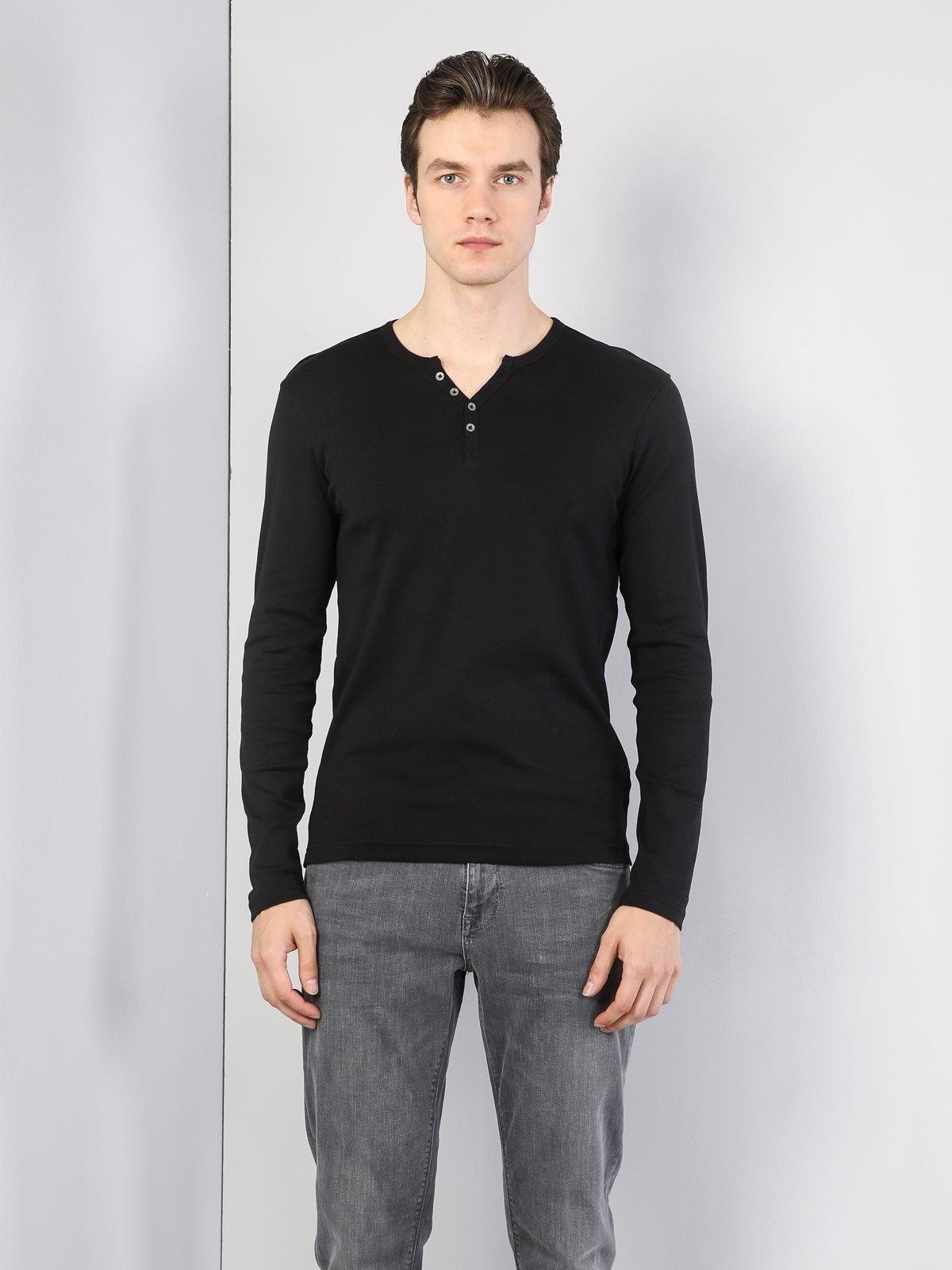 Slim Fit Düğmeli Yaka Siyah Erkek Uzun Kol Tişört