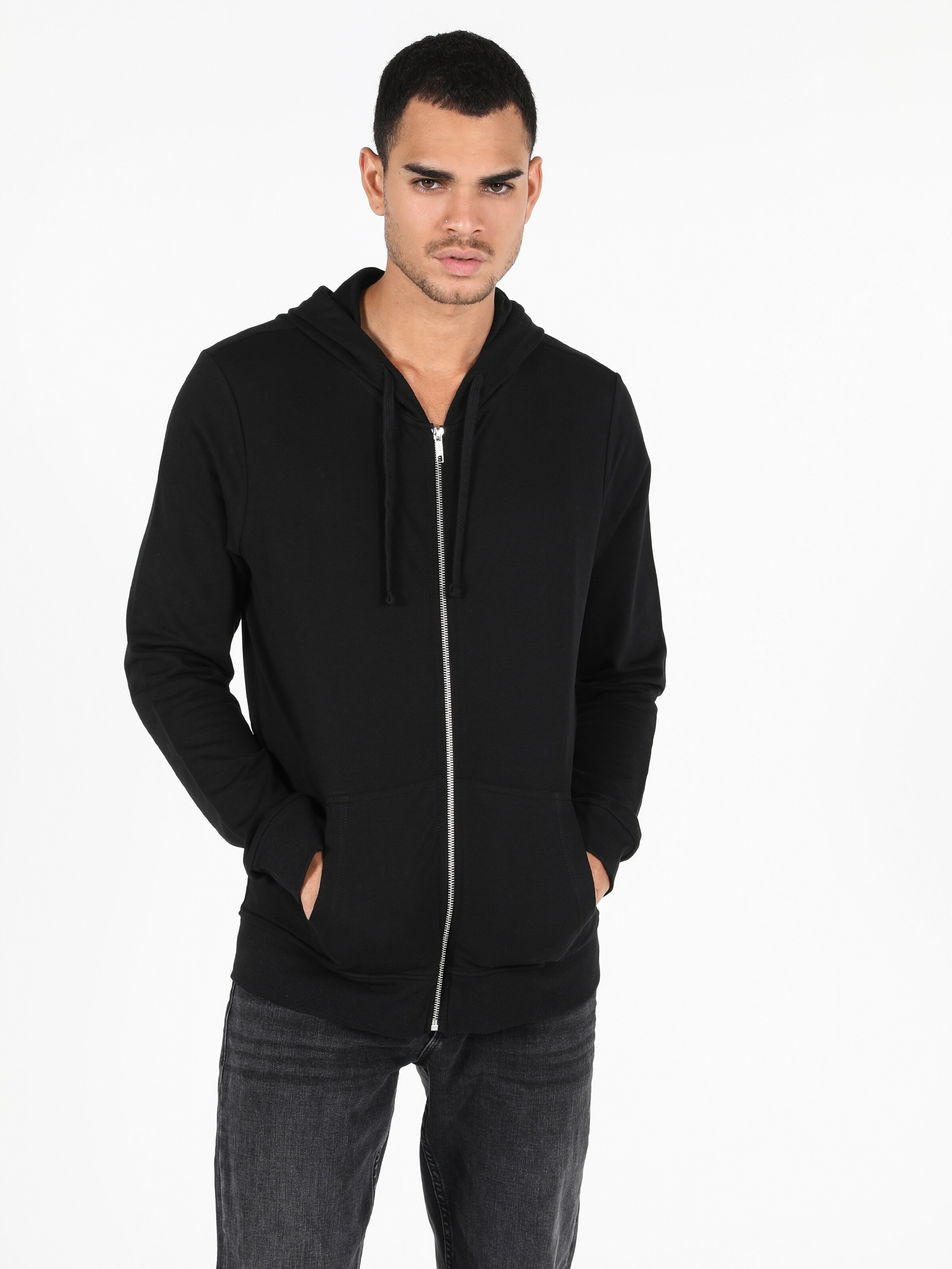 Regular Fit Hooded Erkek Siyah Sweatshirt