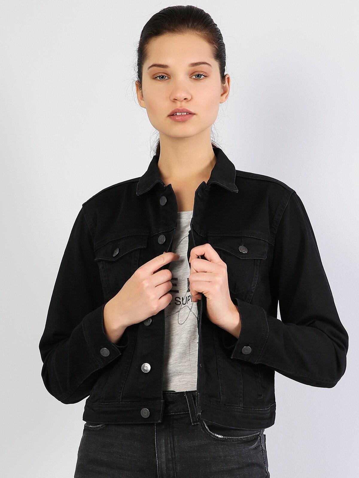 Siyah Dar Kesim Kadın Jean Ceket