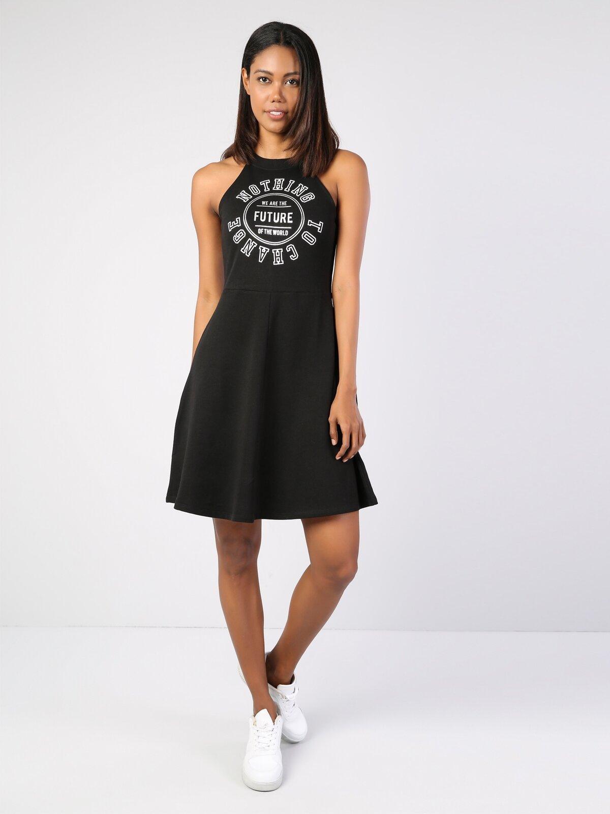 Slim Fit Siyah Desenli  Kadın Elbise