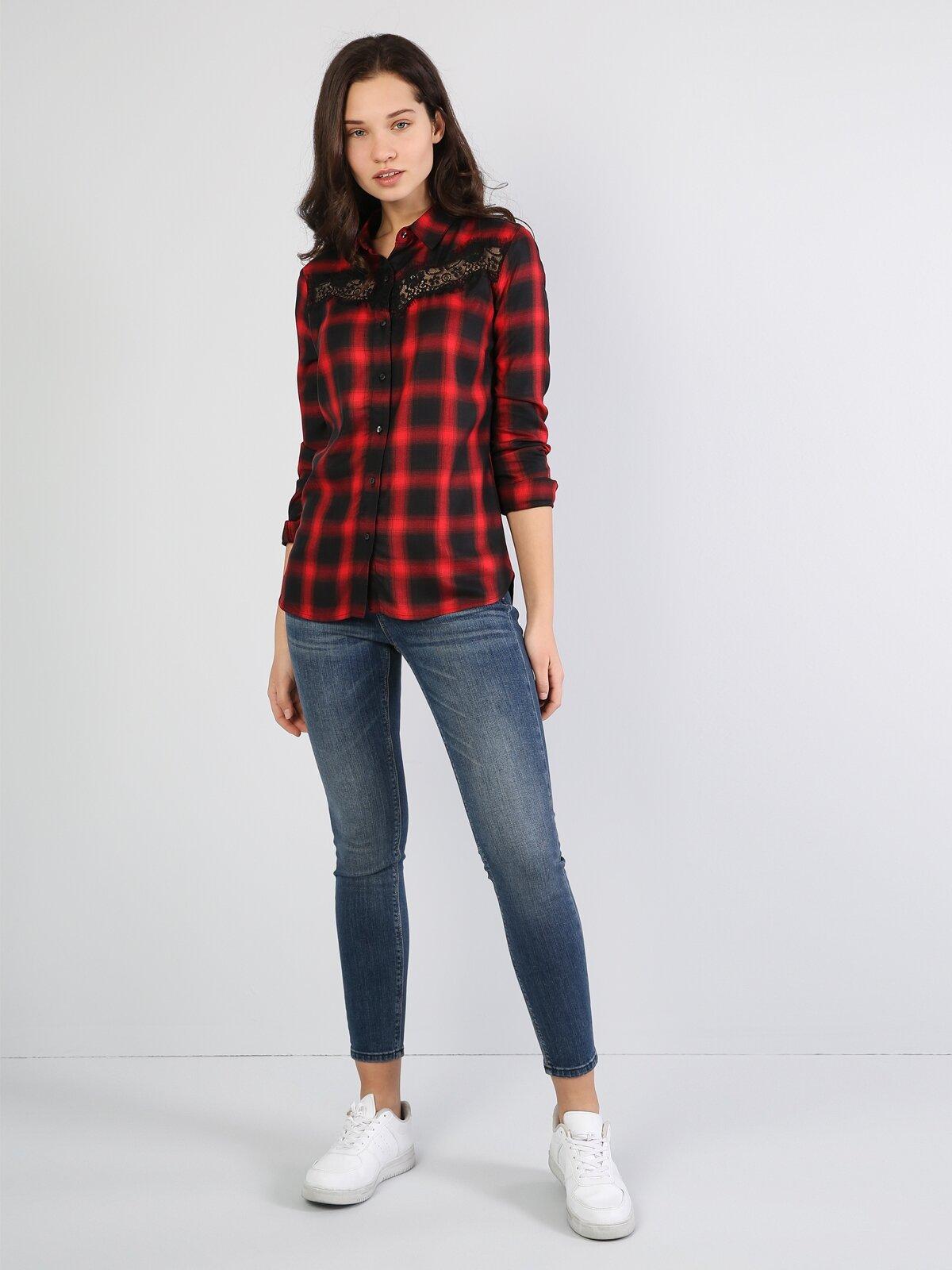 Süper Slim Fit Shirt Neck Kadın Siyah Uzun Kol Gömlek