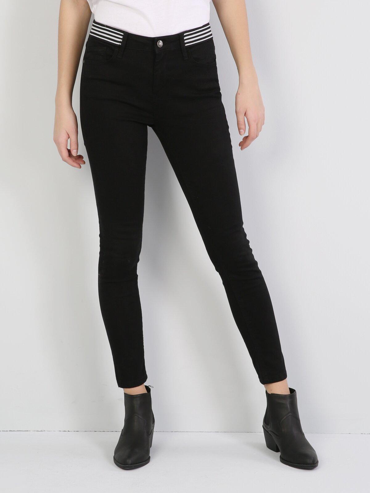 Super Slim Fit Orta Bel Skinny  Leg  Kadın Siyah Pantolon