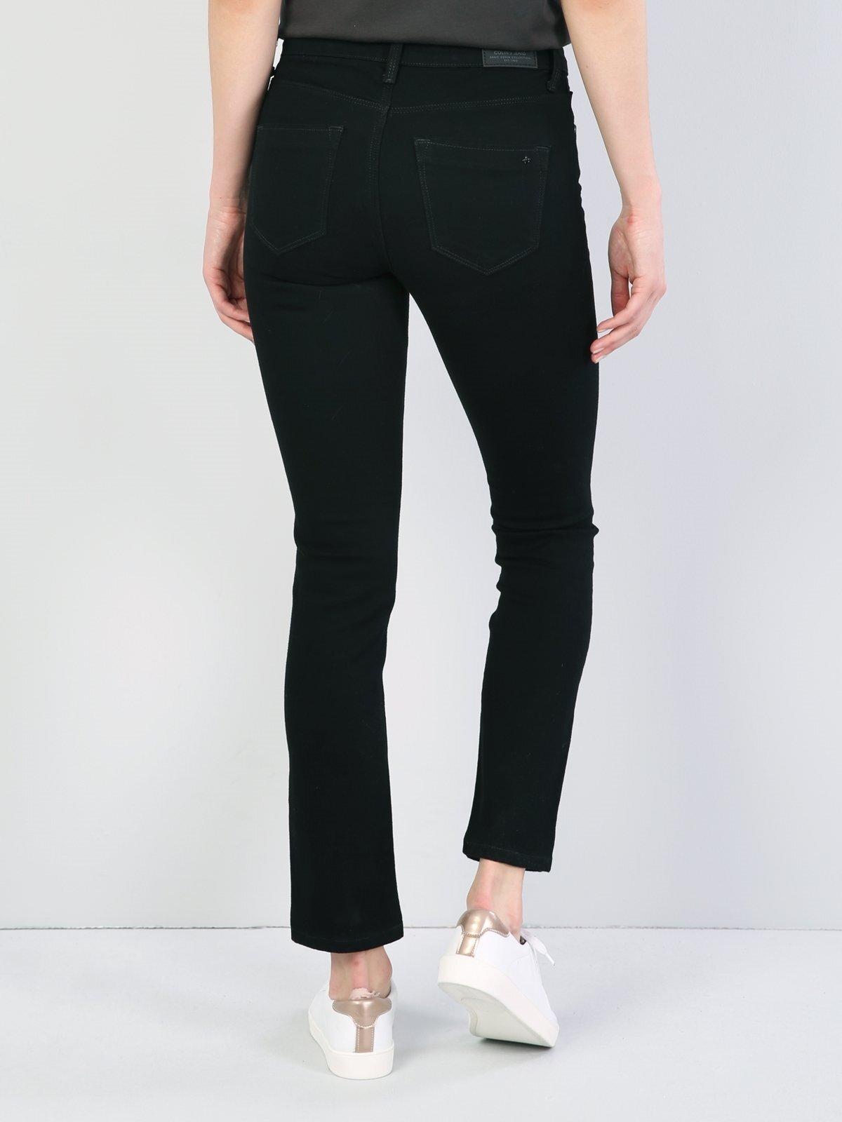 703 Carla Dar Kesim   Siyah Jean Pantolon