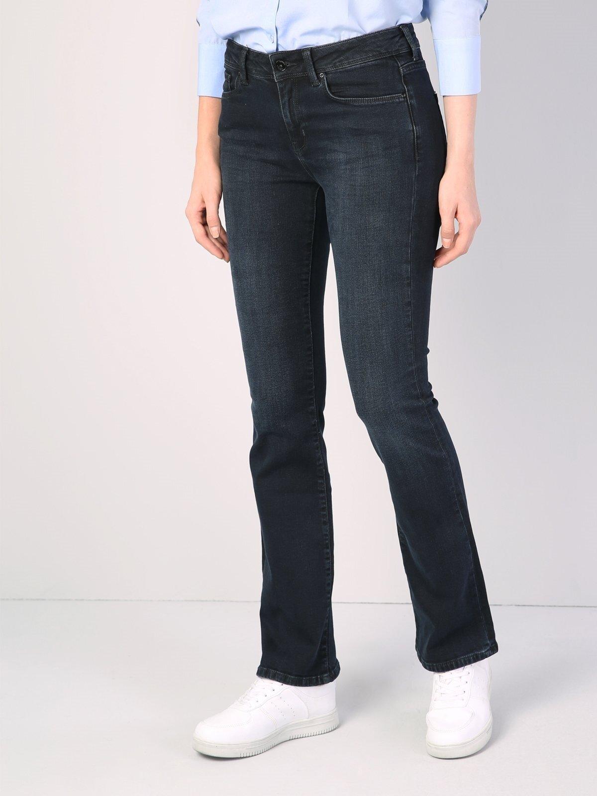 791 Monica Normal Kesim Orta Bel Geniş Paça Siyah Jean Pantolon
