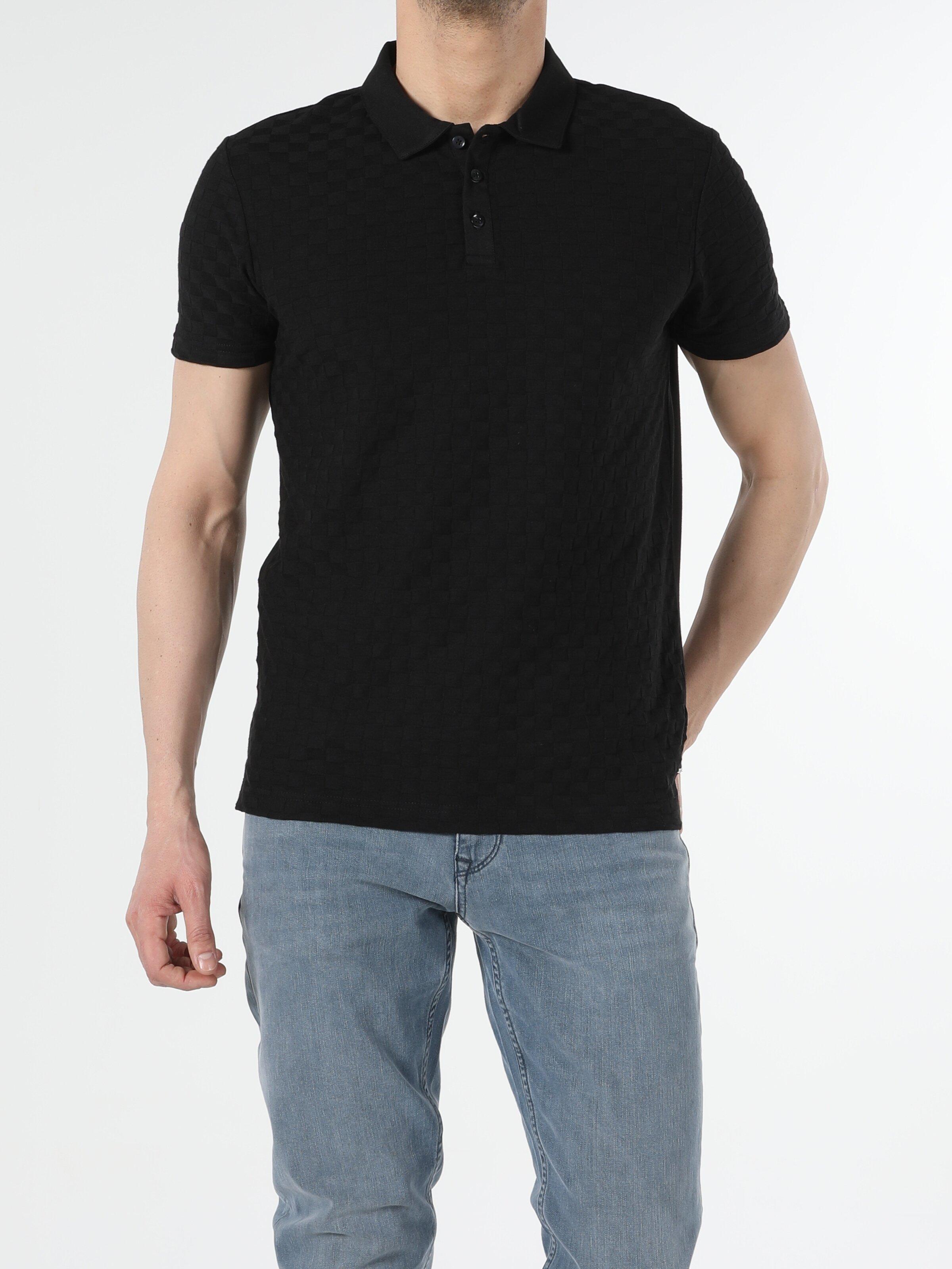 Siyah Regular Fit Polo Yaka Erkek Kısa Kol Polo Tişört