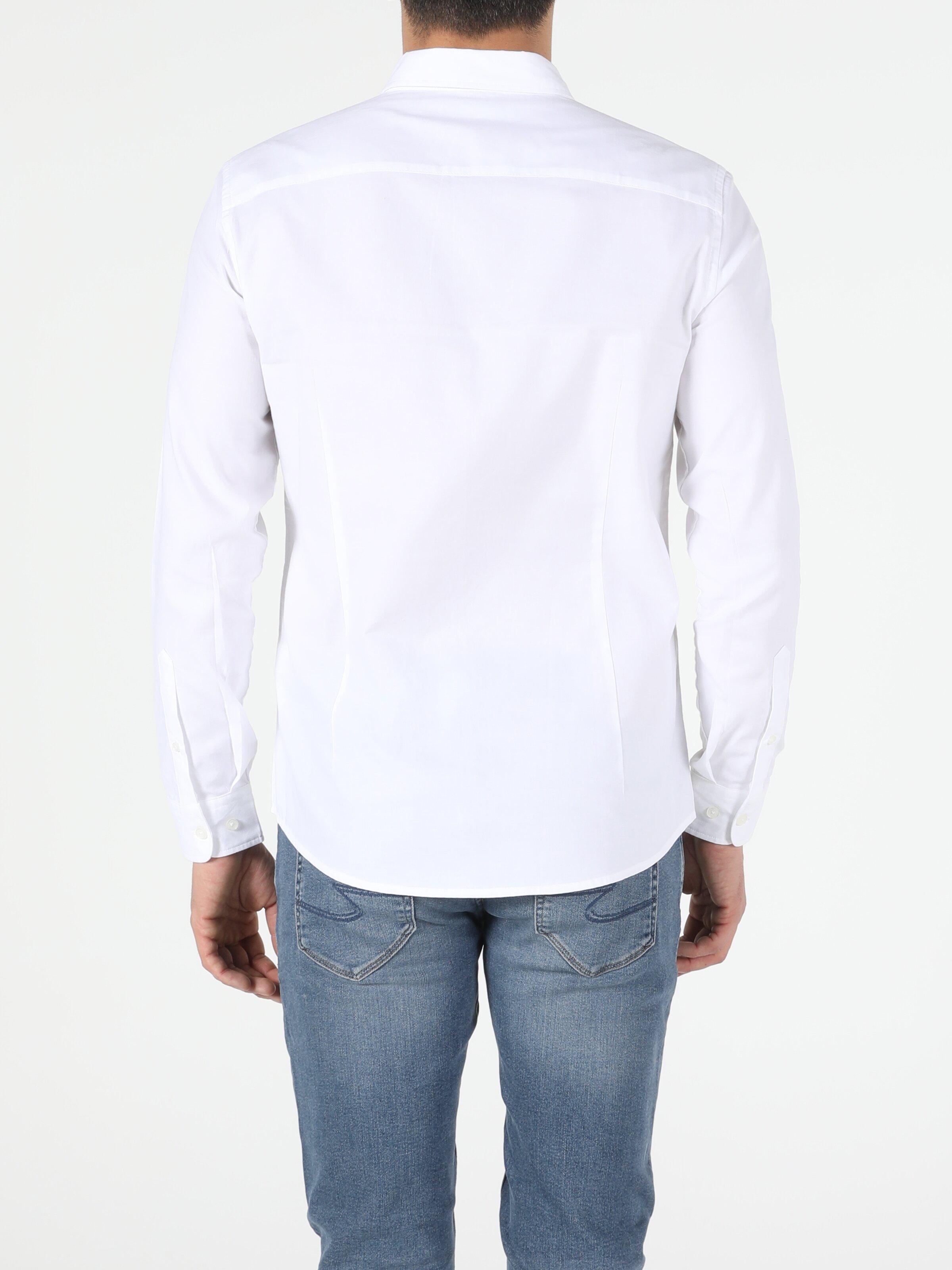 Slim Fit Shirt Neck Erkek Beyaz Uzun Kol Gömlek