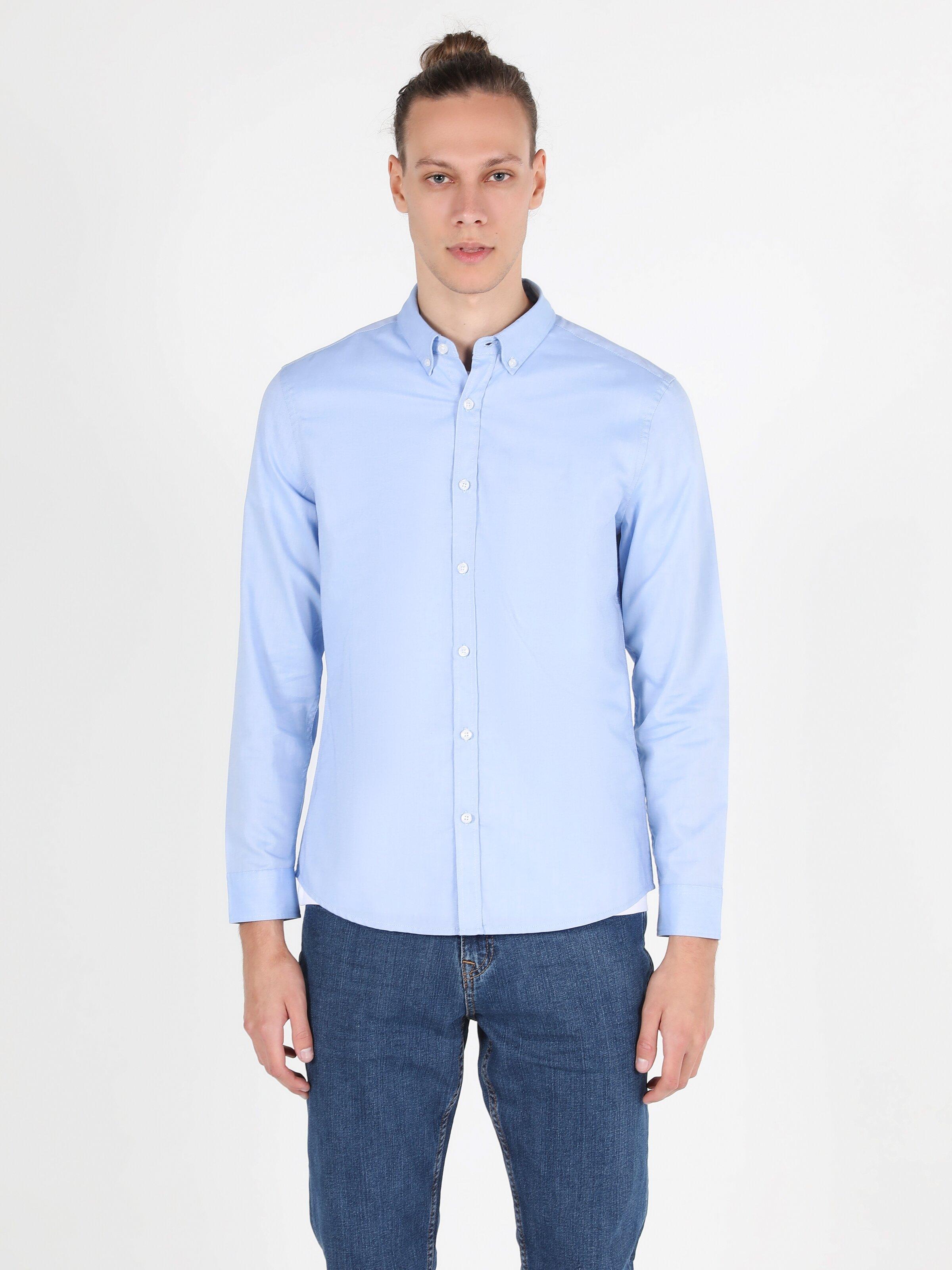 Slim Fit Shirt Neck Erkek Mavi Uzun Kol Gömlek