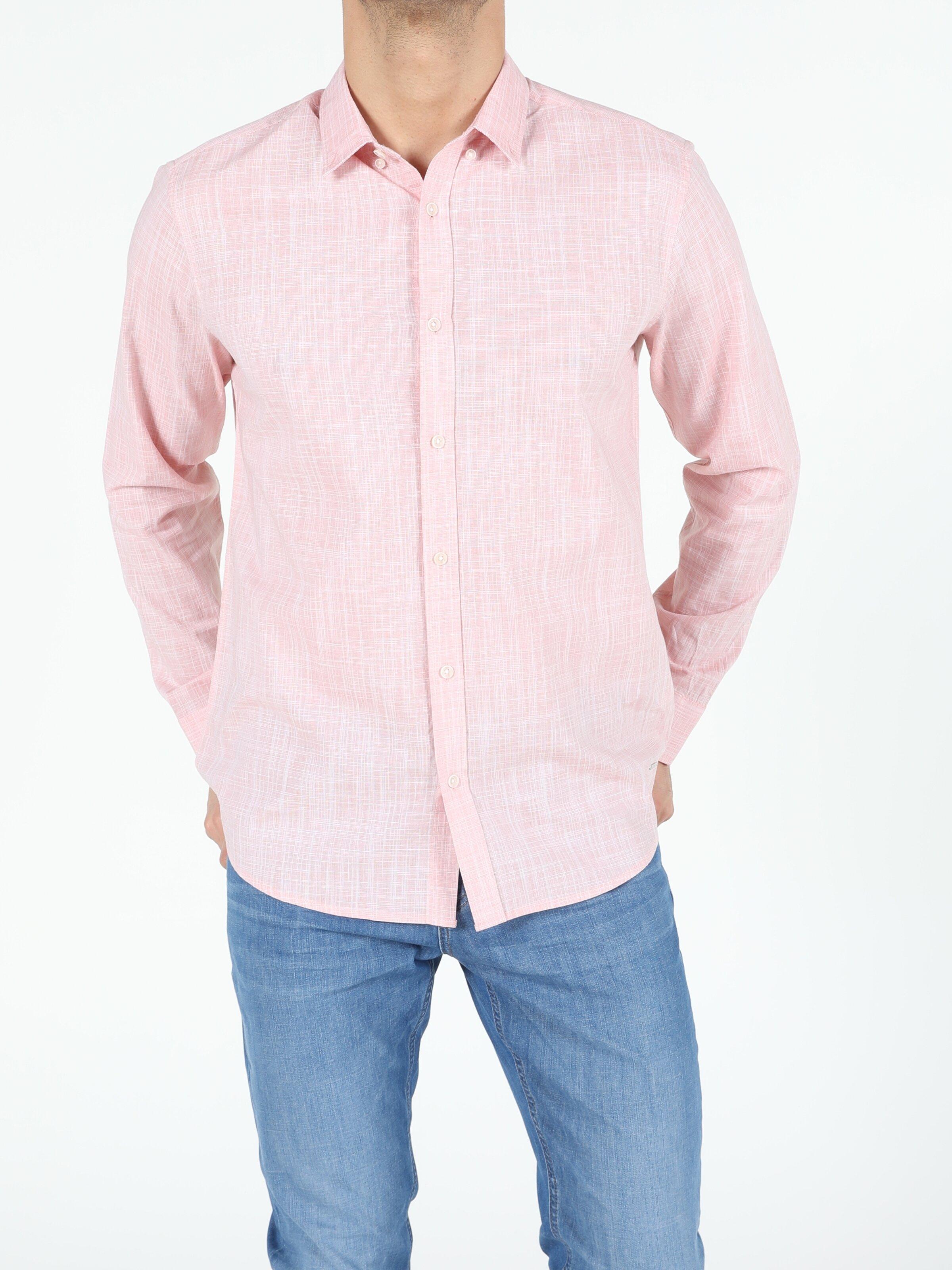 Somon Regular Fit Shirt Neck  Erkek Uzun Kol Gömlek