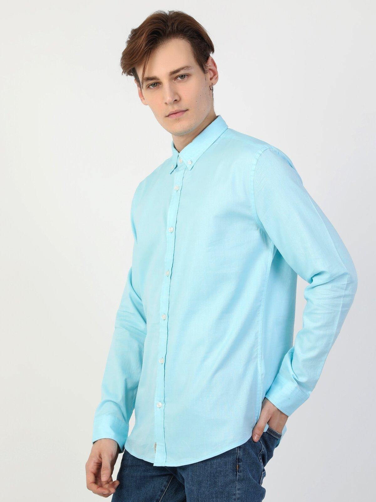 Slim Fit Shirt Neck Erkek Mint Yeşili Uzun Kol Gömlek