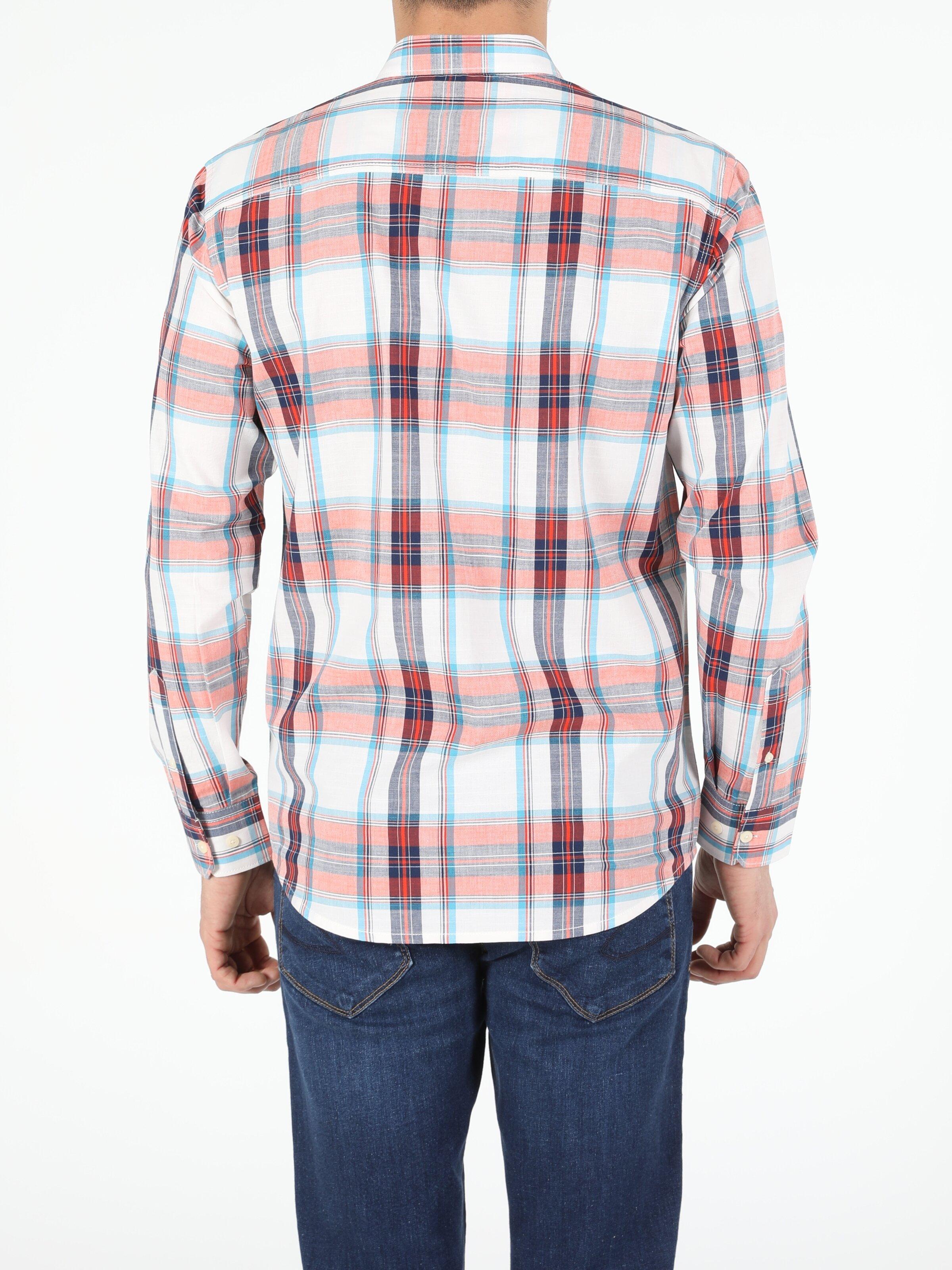 Turuncu Regular Fit Shirt Neck  Erkek Uzun Kol Gömlek