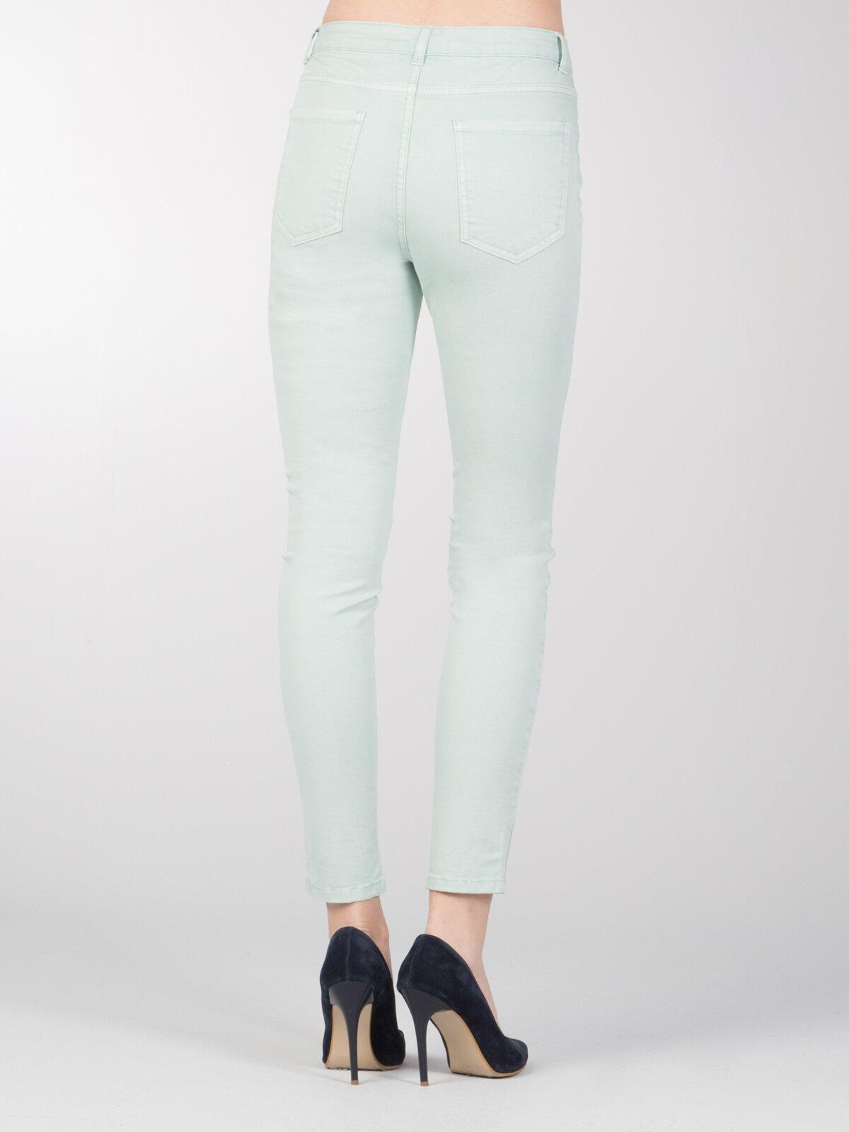 Slim Fit Orta Bel Skinny  Leg  Kadın Mint Yeşili Pantolon