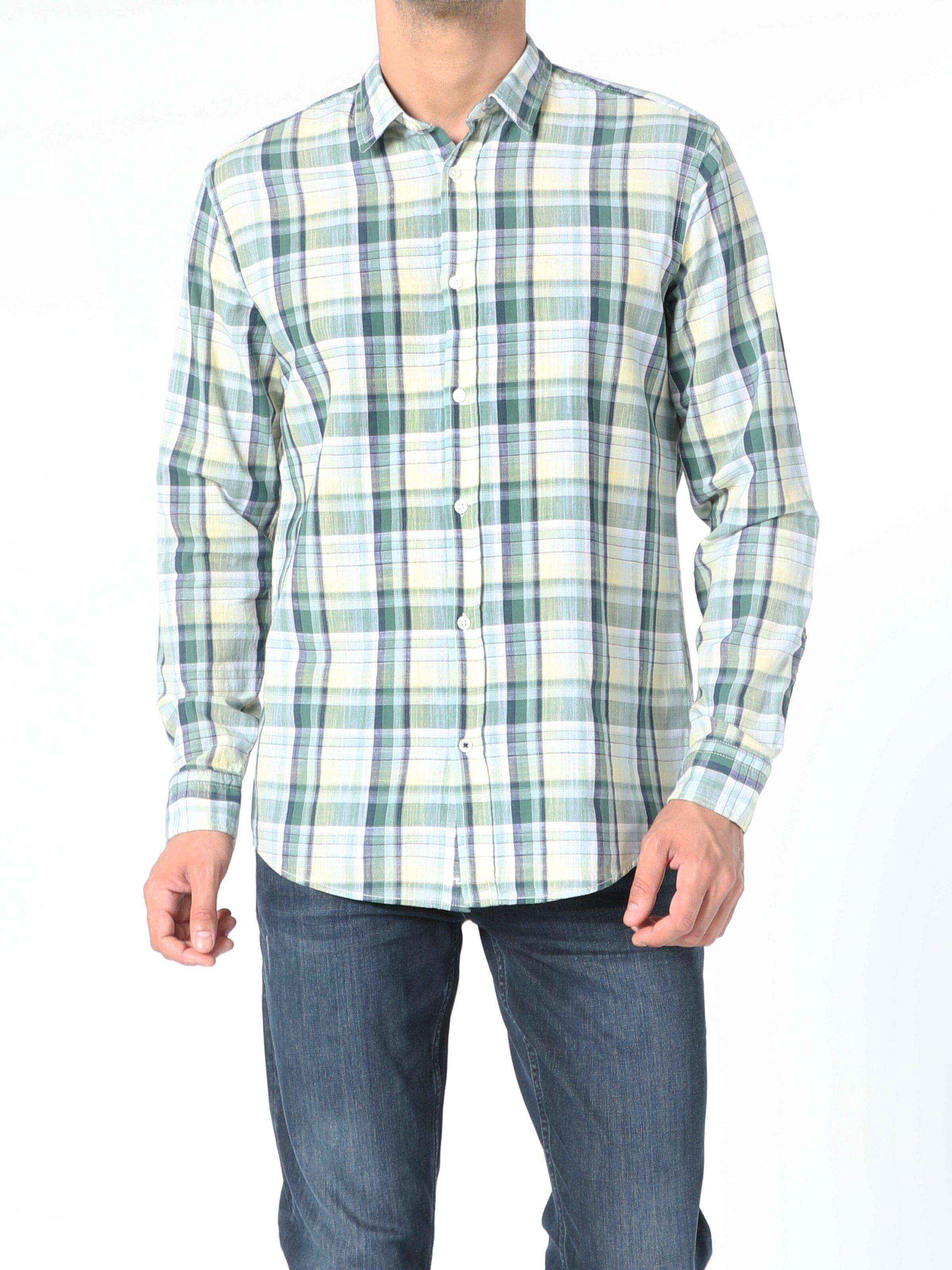 Regular Fit Erkek Yeşil Uzun Kol Gömlek