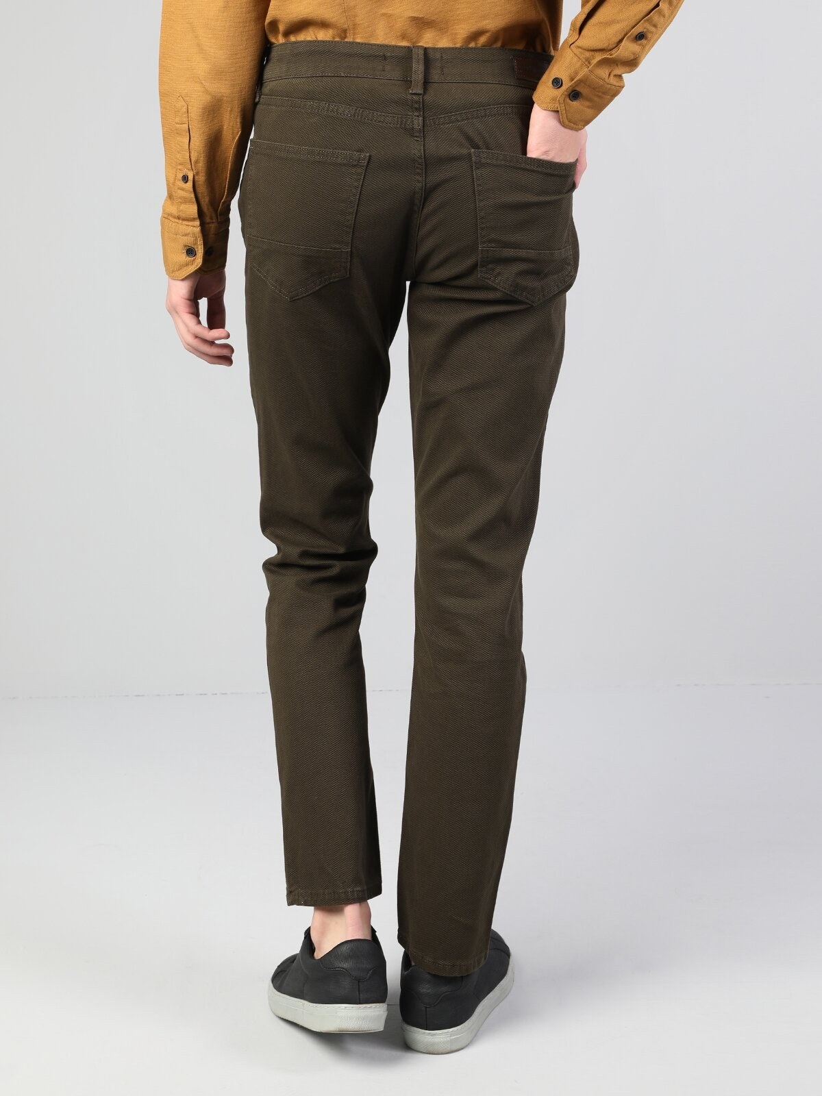 Straight Fit Orta Bel Düz Paça  Erkek Haki Pantolon