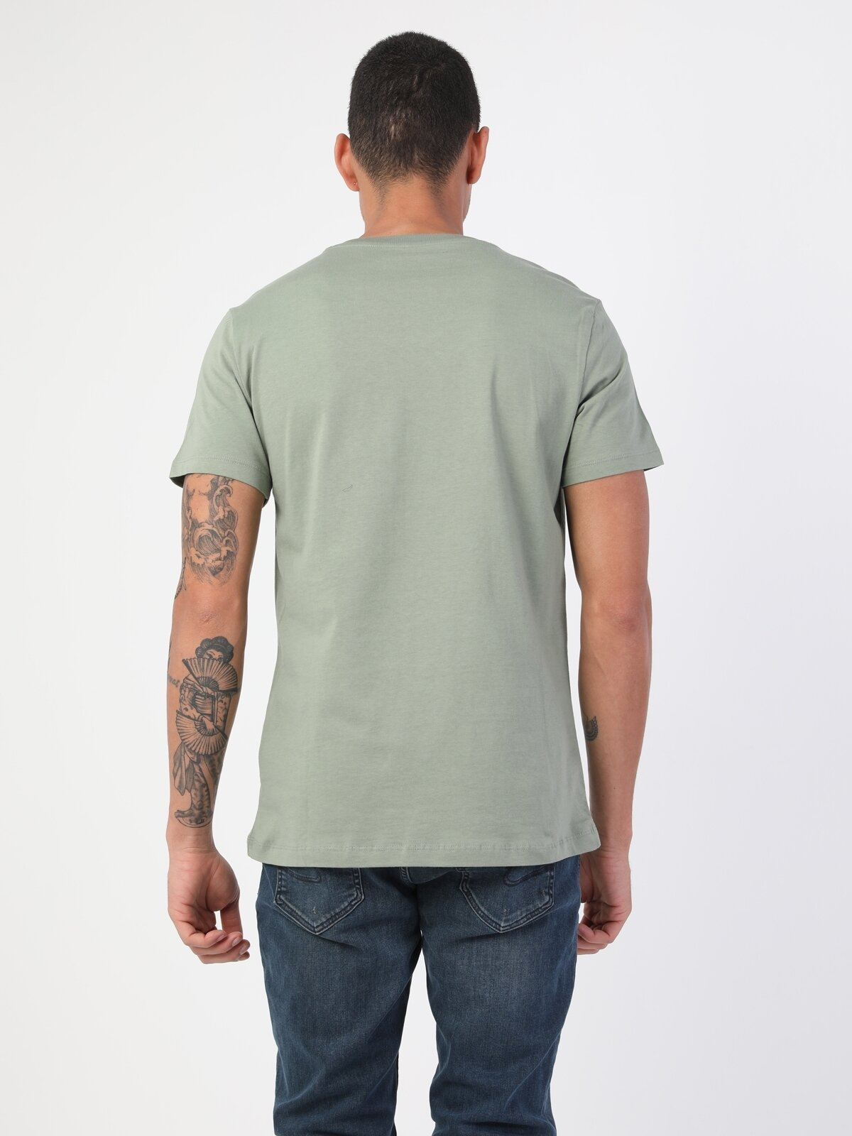 Regular Fit Bisiklet Yaka Erkek Yeşil Kısa Kol Tişört