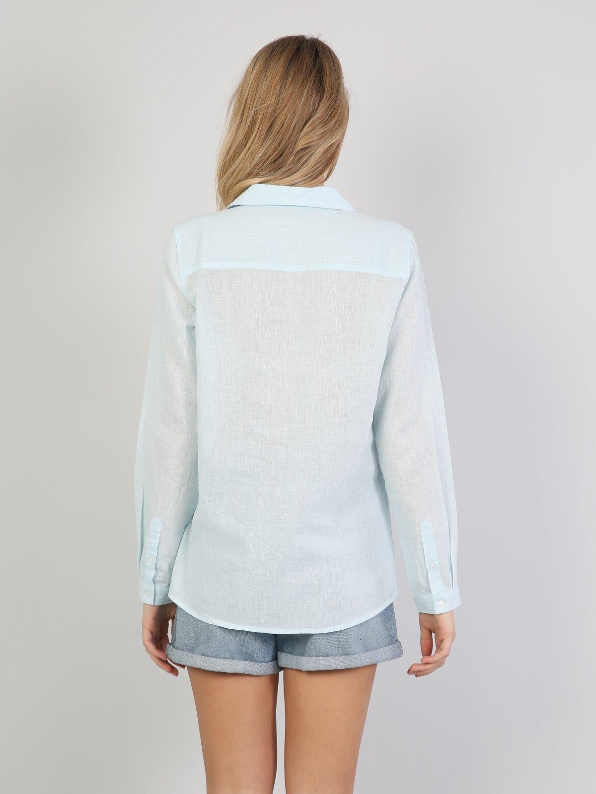 Regular Fit Shirt Neck Kadın Mint Yeşili Uzun Kol Gömlek