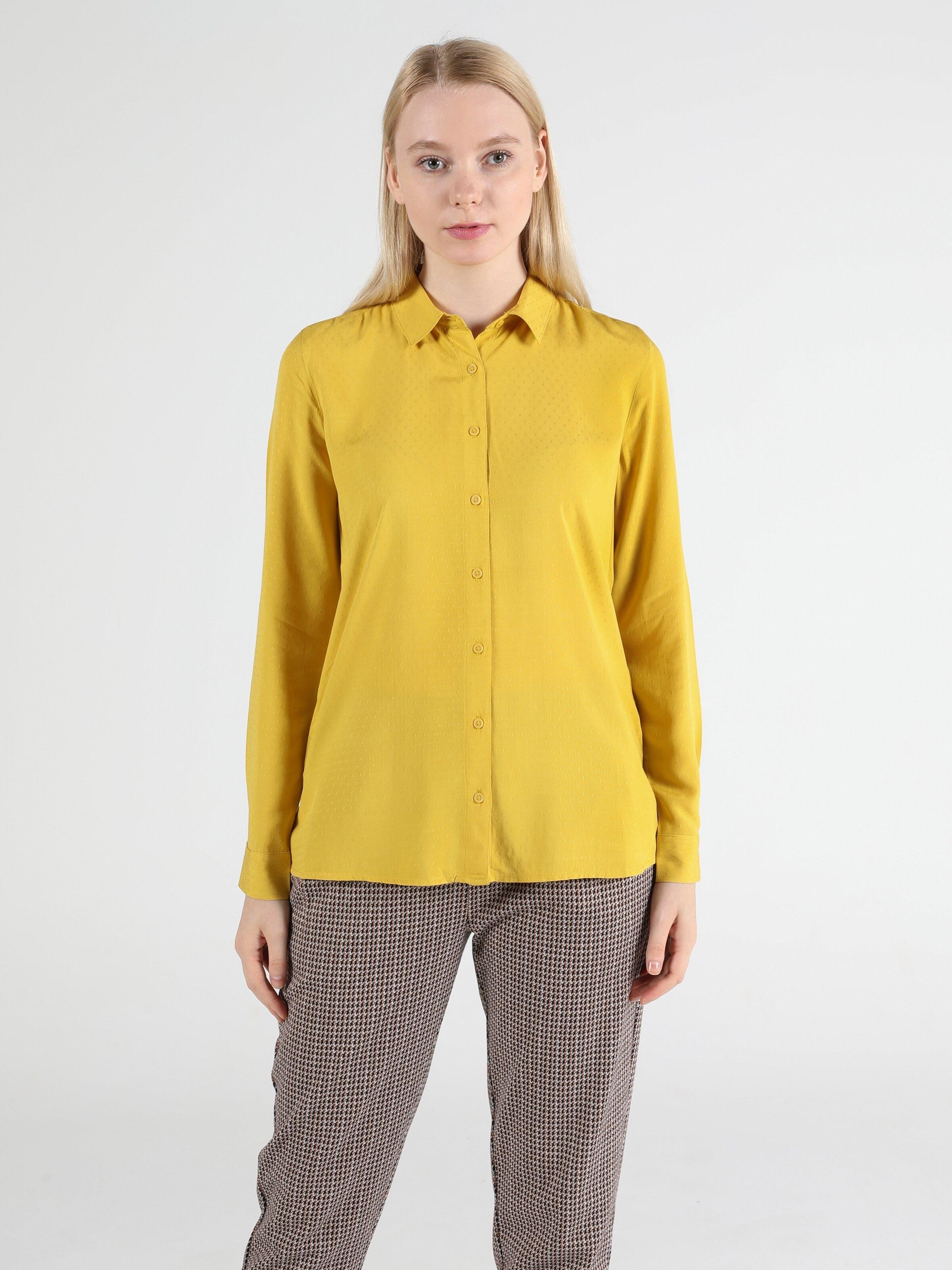 Slim Fit Shirt Neck Kadın Petrol Yeşili Uzun Kol Gömlek