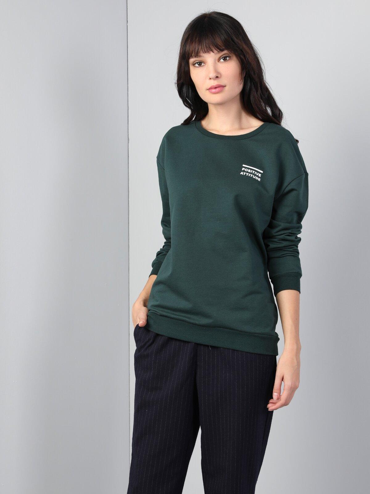 Normal Kesim Bisiklet Yaka Baskılı Yeşil Kadın Uzun Kol Tişört