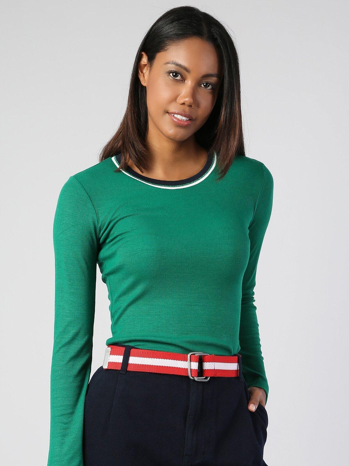 Yeşil Yuvarlak Yaka Uzun Kol Tişört