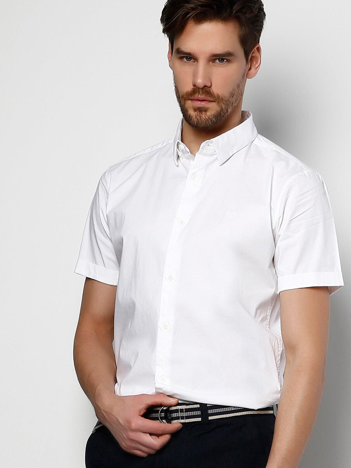Beyaz Erkek Gömlek K.kol