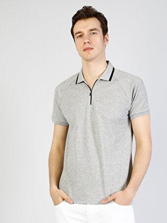 Polo Yaka Gri Melanj Kısa Kol Tişört