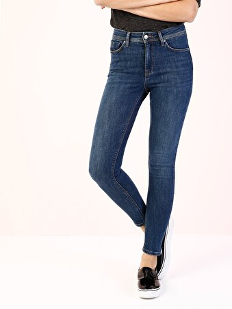 760 Diana Dar Kesim Yüksek Bel Dar Paça Mavi Jean Pantolon