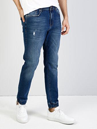 038 Paul Normal Kesim Şalvar Pantolon Lastikli Mavi Jean Pantolon