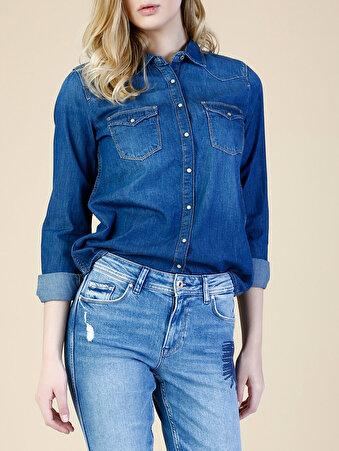 Mavi Kadın Gömlek U.kol