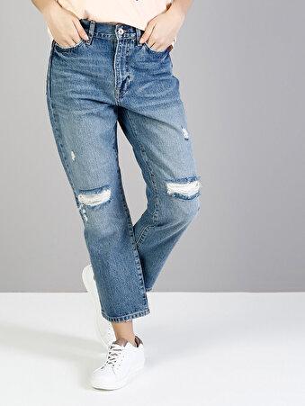 890 Lola Normal Kesim Yüksek Bel Kısa Paça Mavi Jean Pantolon