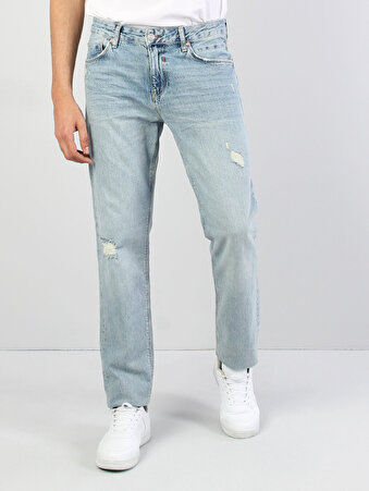 067 Jack Normal Kesim Orta Bel Tapered Leg Mavi Jean Pantolon
