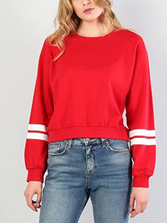 Kırmızı Baskılı Uzun Kol Sweatshirt