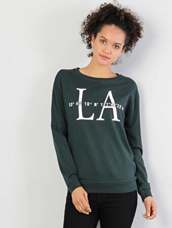 Yeşil Baskılı Uzun Kol Sweatshirt